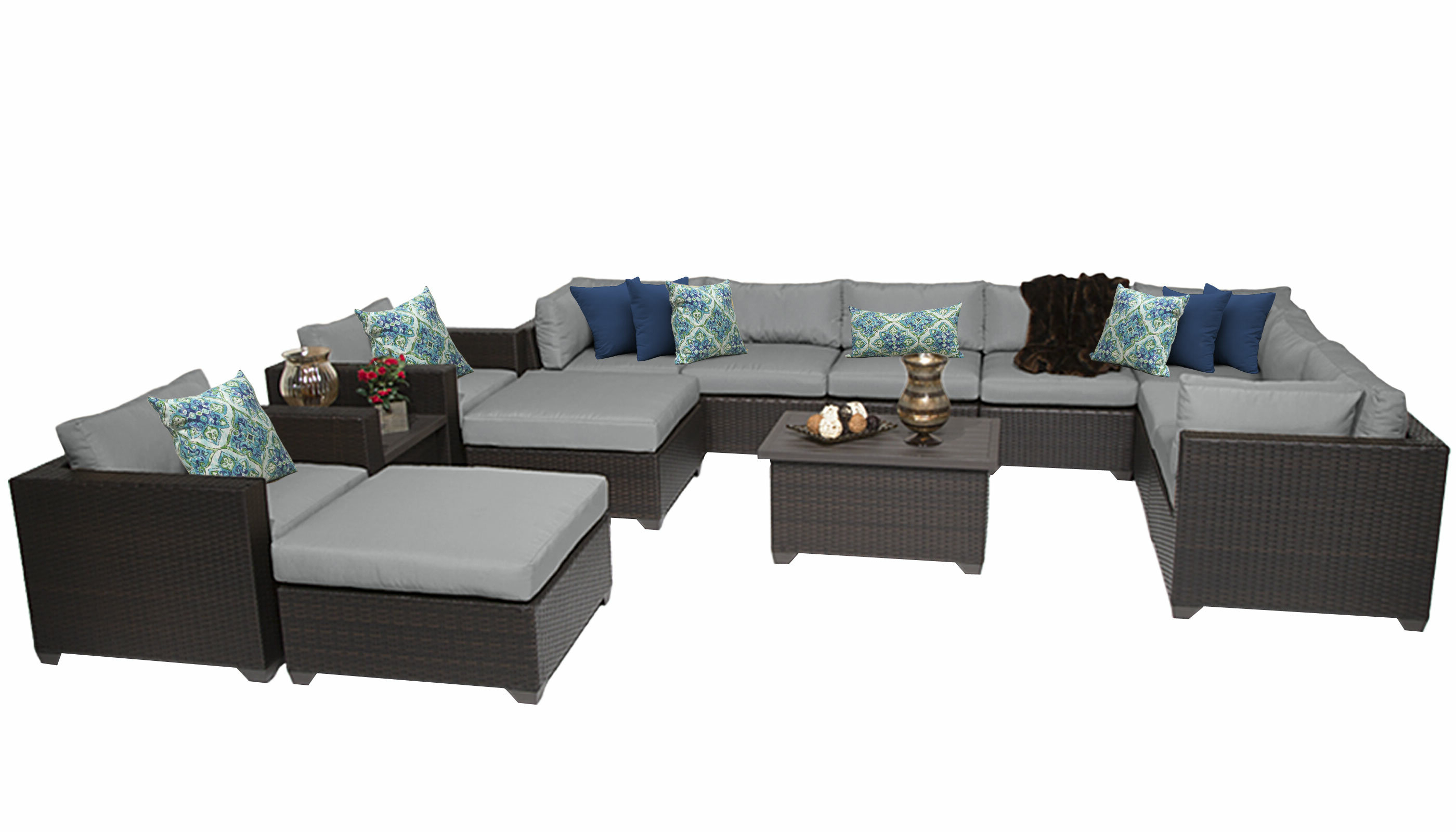 Well Known Outdoor 13 Piece Wicker Patio Sets With Cushions With Regard To Fernando 13 Piece Rattan Sectional Seating Group With Cushions (View 9 of 25)