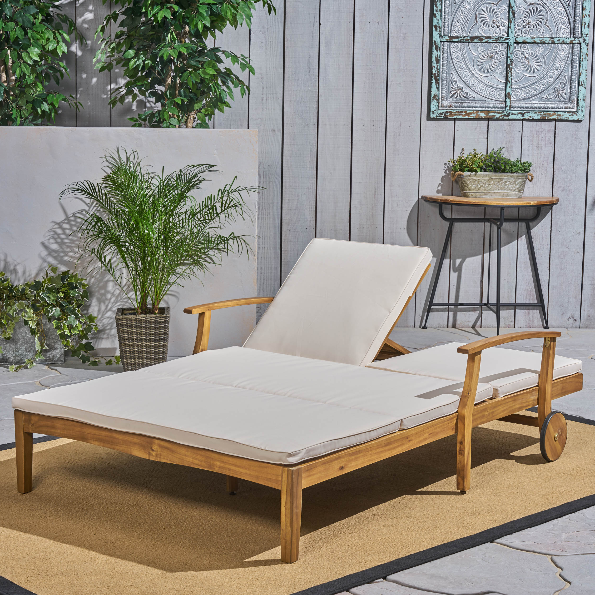 Well Known Outdoor Acacia Wood Chaise Lounges With Cushion In Danielle Outdoor Acacia Wood Double Chaise Lounge With Cushion, Teak, Cream (View 12 of 25)