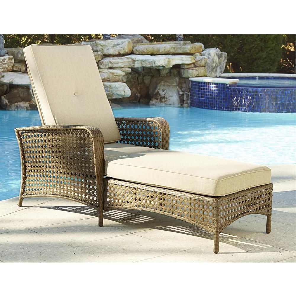 Well Known Outdoor Adjustable Rattan Wicker Chaise Pool Chairs With Cushions Inside Cosco Lakewood Ranch Brown Adjustable Steel Woven Patio (Gallery 9 of 25)