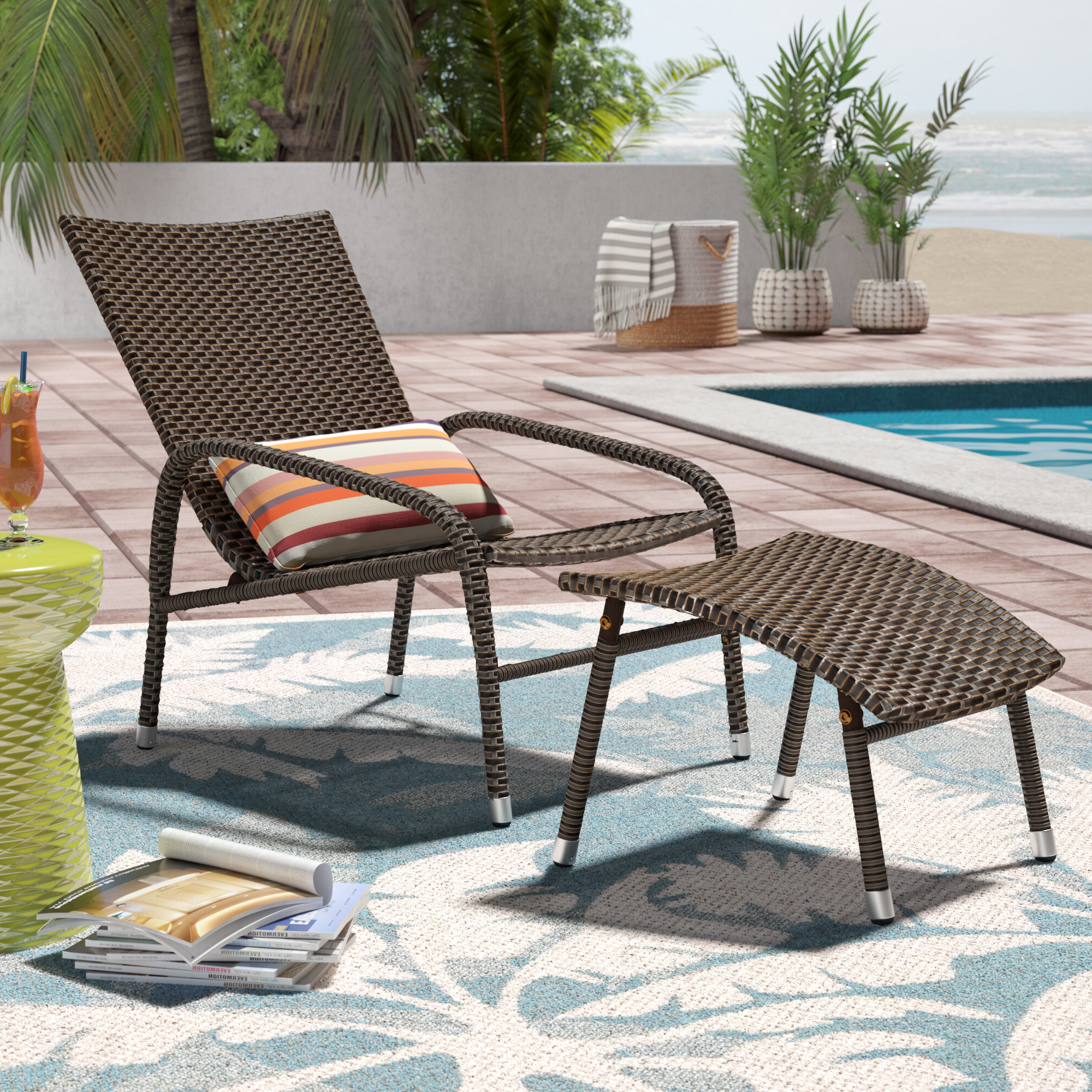 Well Known Outdoor Patio Lounge Chairs With Ottoman Regarding Alois Lounge Chair With Ottoman (View 8 of 25)