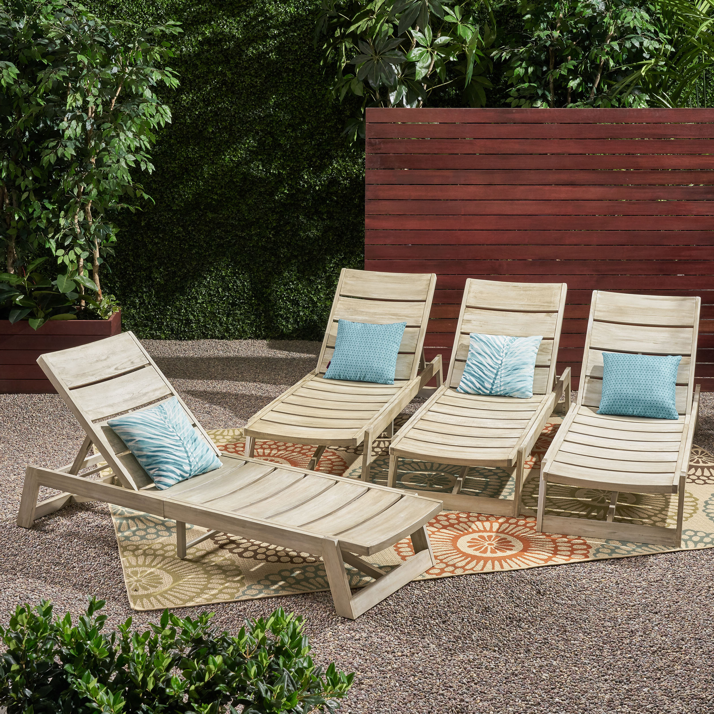Well Known Outdoor Rustic Acacia Wood Chaise Lounges With Wicker Seat For Nowakowski Acacia Wood Reclining Chaise Lounge (Gallery 19 of 25)