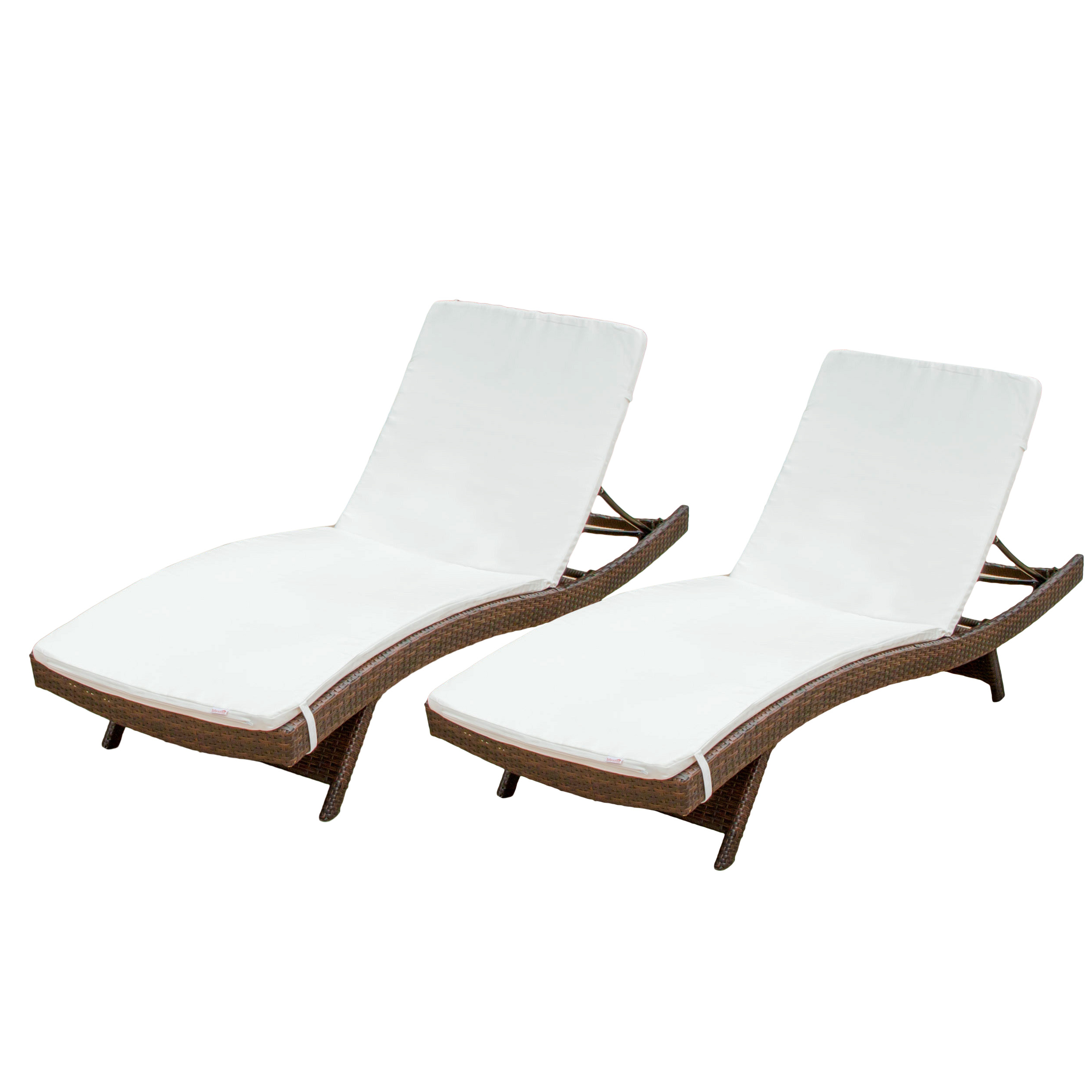 Well Known Outdoor Wicker Adjustable Chaise Lounges With Cushions With Regard To Outdoor Brown Wicker Adjustable Chaise Lounge With Cushions (Set Of 2) (View 25 of 25)
