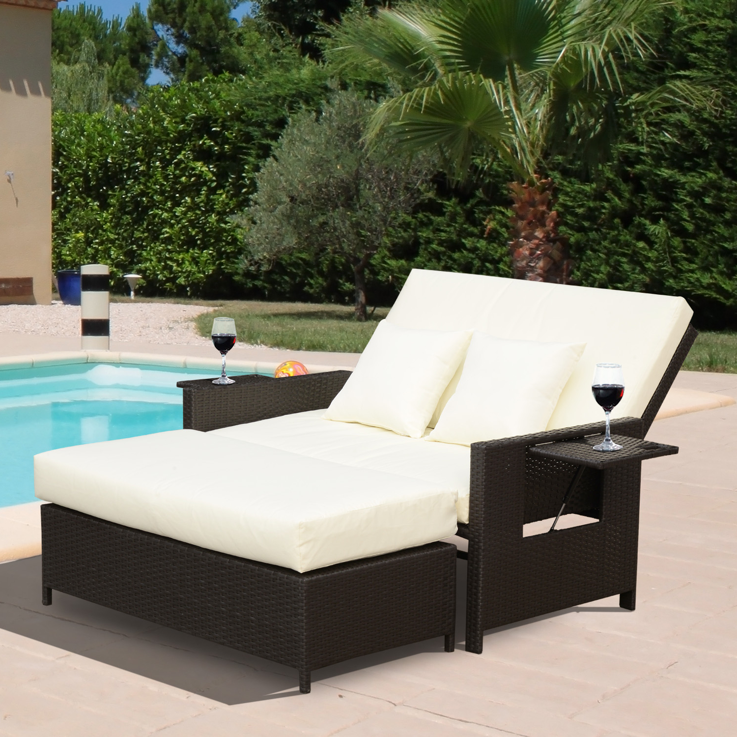 Well Known Outsunny 2 Piece Outdoor Rattan Wicker Chaise Lounge And Ottoman Set Cushioned With Regard To 2 Piece Outdoor Wicker Chaise Lounge Chairs (View 22 of 25)