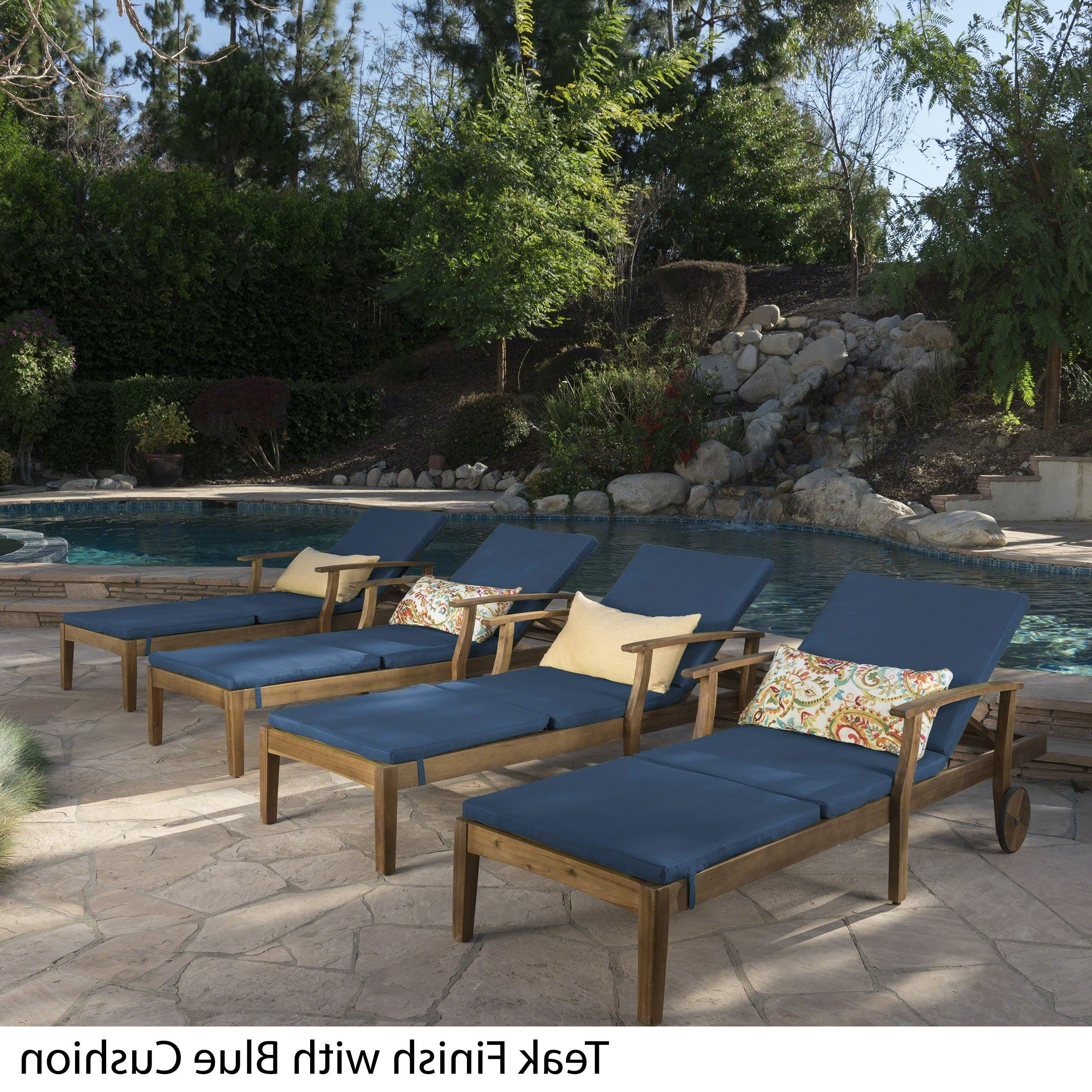 Well Known Perla Outdoor Acacia Wood Chaise Lounge With Cushion Throughout Perla Outdoor Acacia Wood Chaise Lounge With Cushion (Set Of 4) Christopher Knight Home (Gallery 7 of 25)