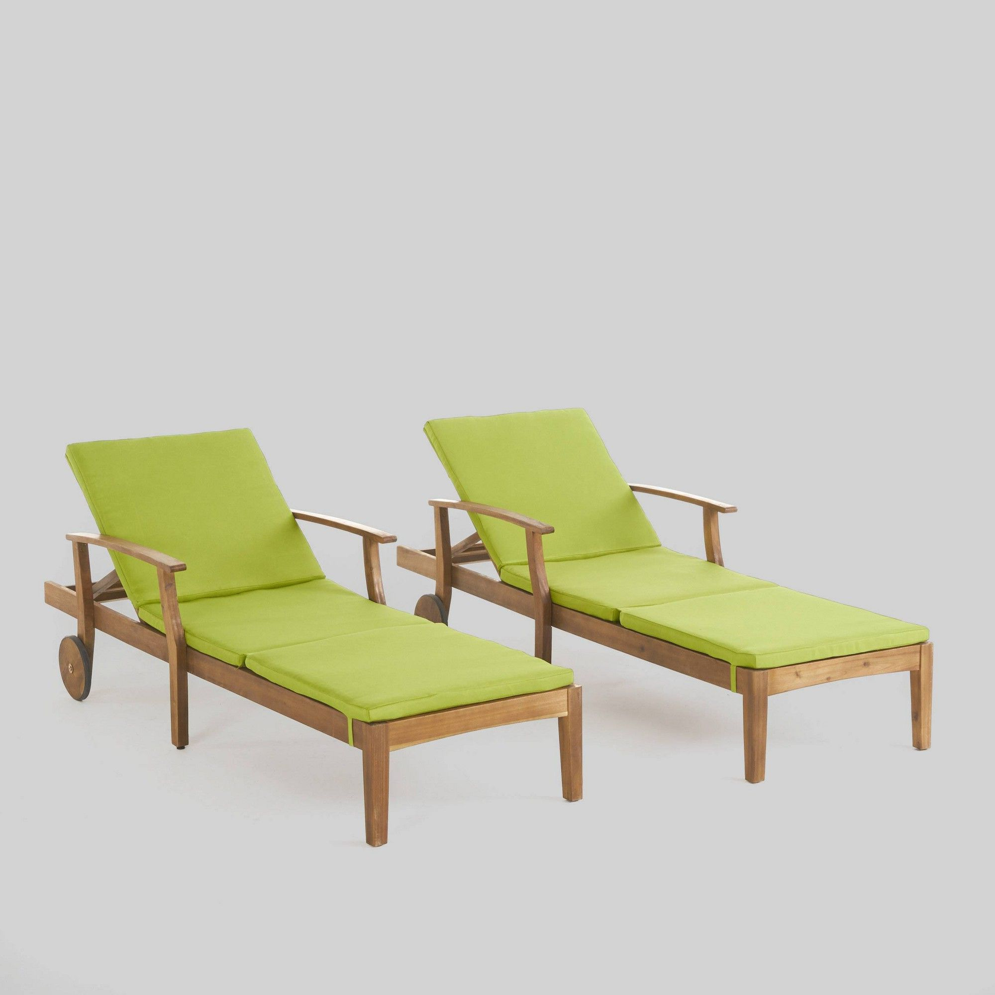 Well Known Perla Outdoor Acacia Wood Chaise Lounge With Cushion With Perla 2Pk Acacia Wood Patio Chaise Lounge – Teak/green (Gallery 12 of 25)