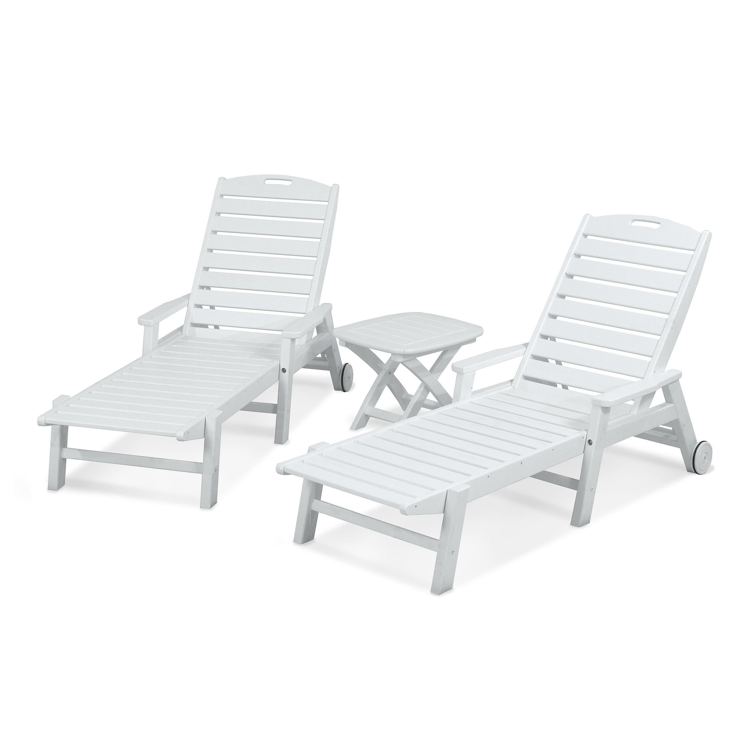 Well Known Polywood® Nautical 3 Piece Chaise Set Inside Nautical 3 Piece Outdoor Chaise Lounge Sets With Wheels And Table (View 5 of 25)