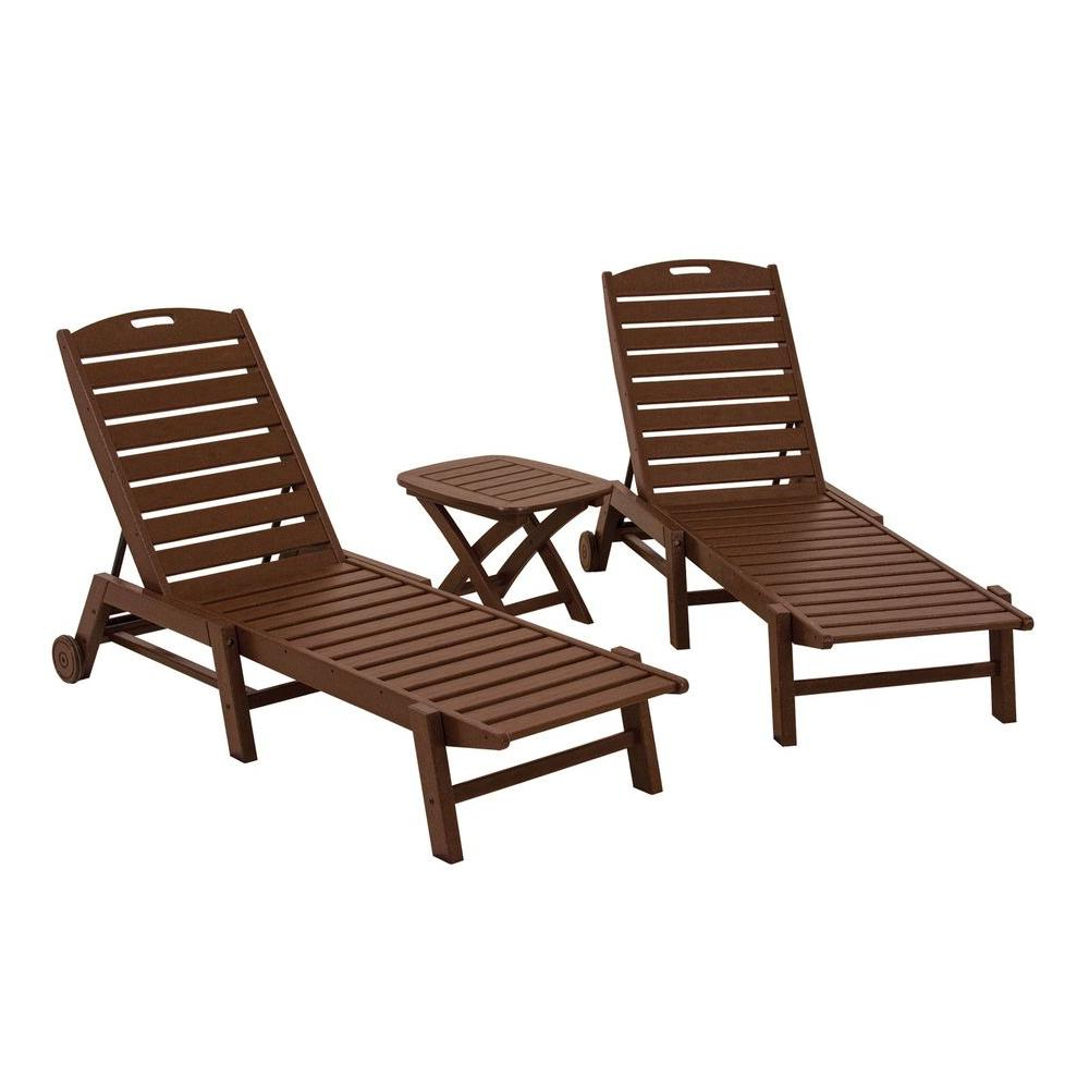 Well Known Polywood Nautical Mahogany 3 Piece Patio Chaise Set Inside Nautical Outdoor Chaise Lounges With Arms (View 20 of 25)