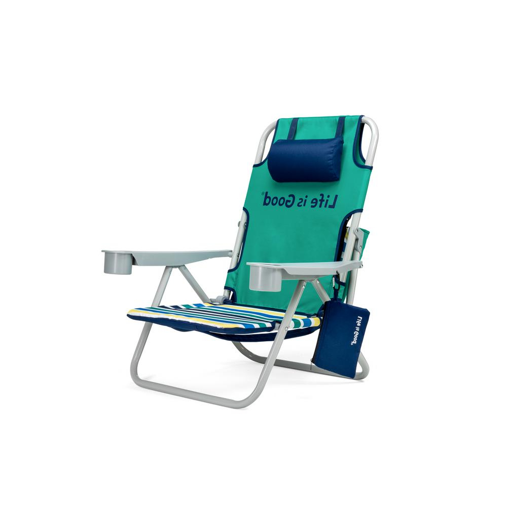Well Known Sunset Patio Sling Folding Chairs With Headrest For Life Is Good Rocket Green Aluminum Folding And Reclining Beach Chair (Gallery 14 of 25)