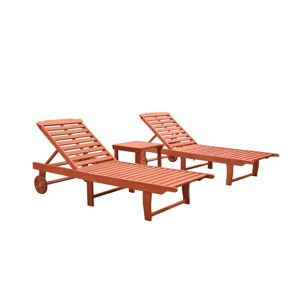 Well Known Vifah Malibu 3 Piece Wood Outdoor Chaise Lounge For Outdoor Sling Eucalyptus Chaise Loungers (View 24 of 25)
