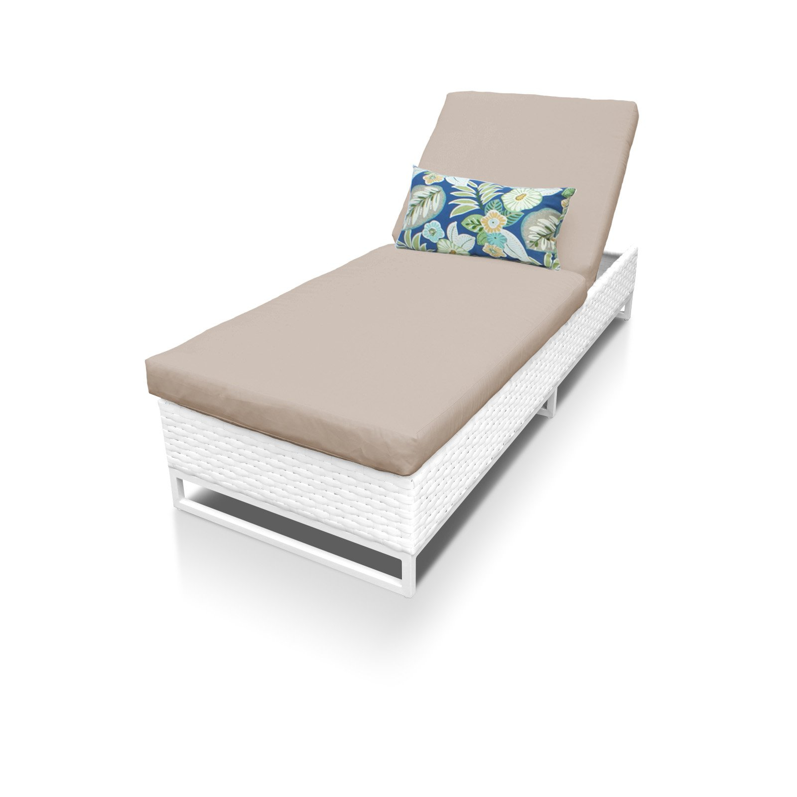 Well Known White Wicker Adjustable Chaise Loungers With Cushions In Outdoor Tk Classics Miami Adjustable Patio Chaise Lounge (View 8 of 25)