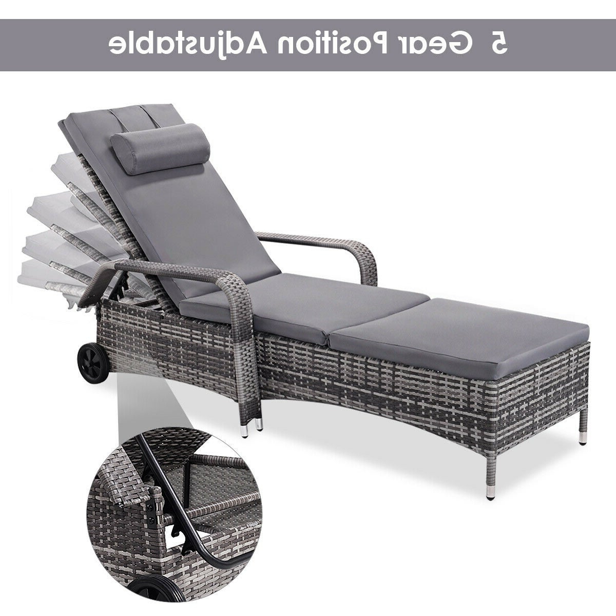 Featured Photo of Wicker Chaise Back Adjustable Patio Lounge Chairs with Wheels