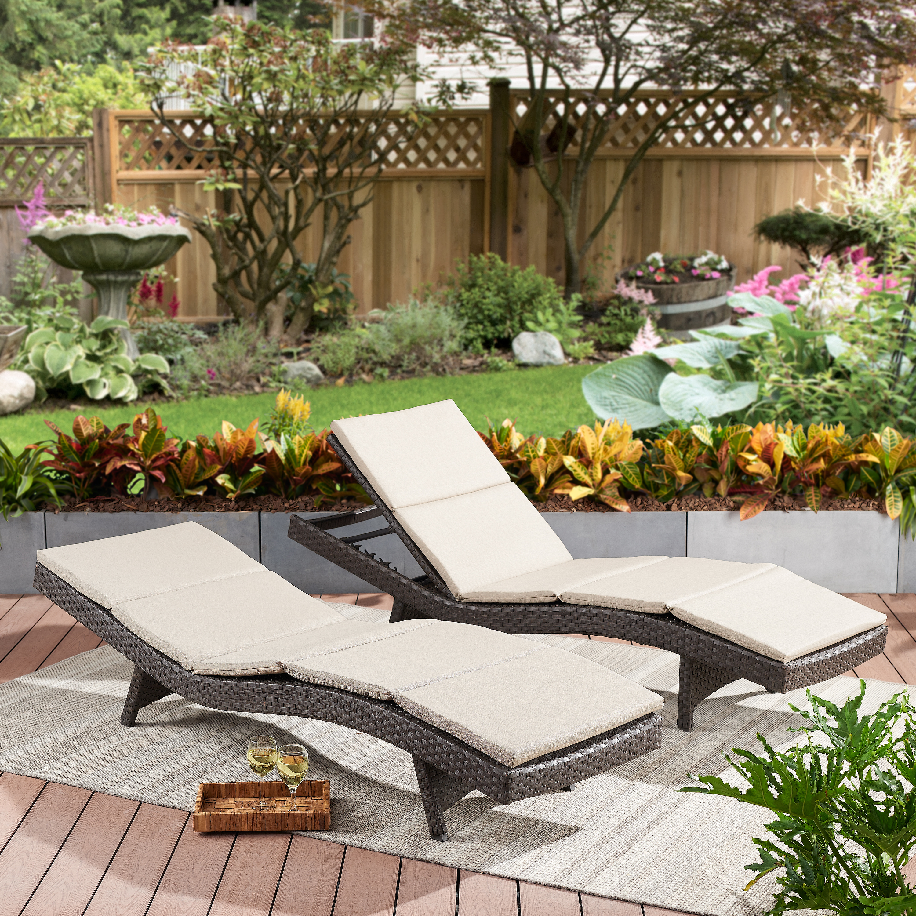 Well Liked Better Homes & Gardens Avila 2 Piece Outdoor Wicker Chaise Throughout 2 Piece Outdoor Wicker Chaise Lounge Chairs (View 13 of 25)