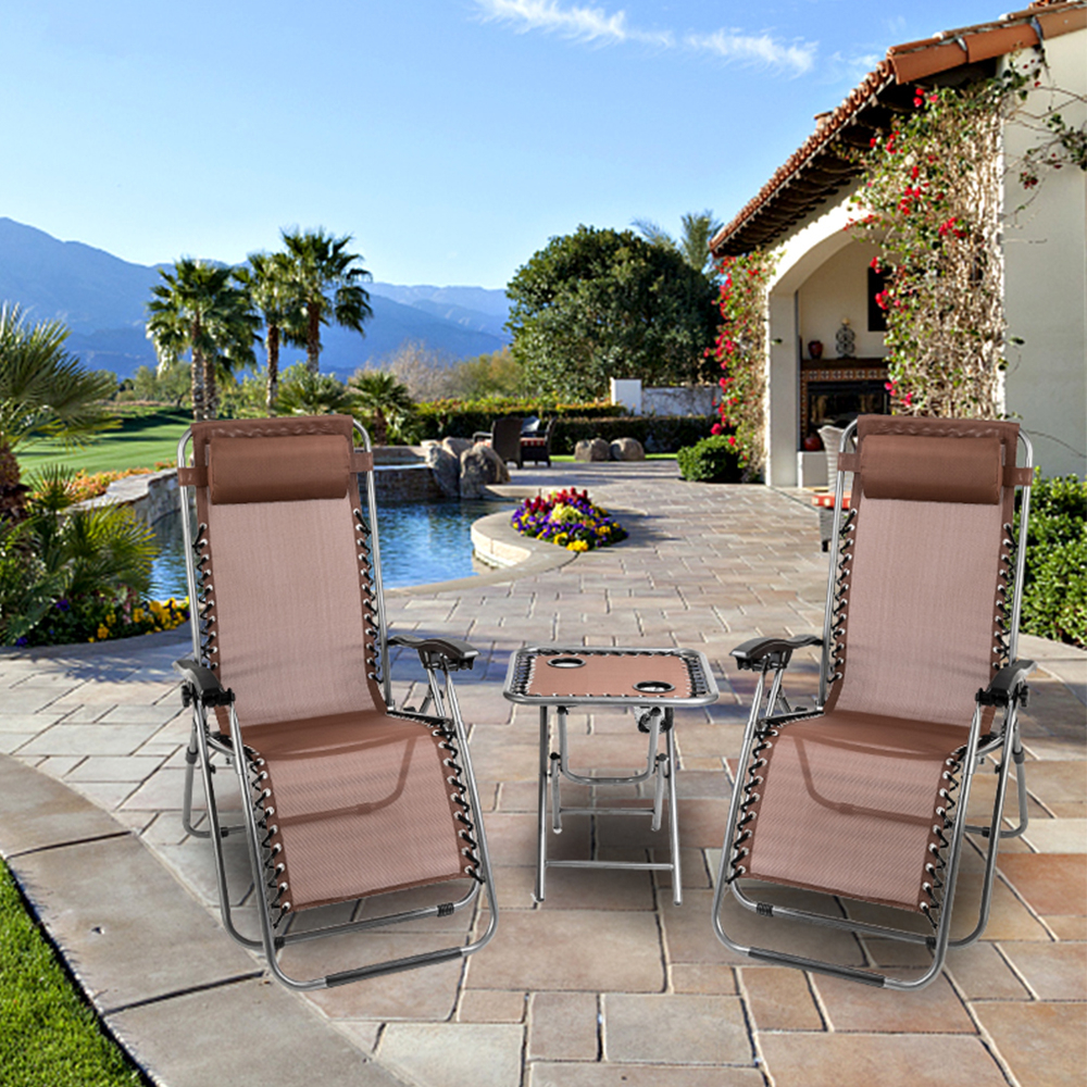Well Liked Clearance! Patio Lounge Chairs, 3 Piece Zero Gravity Chair And Free Table  W/ 2 Cup Holders, Folding Lounge Chaise Recliners W/ Padded Headrest, Hold Intended For Outdoor Yard Pool Recliner Folding Lounge Table Chairs (View 25 of 25)