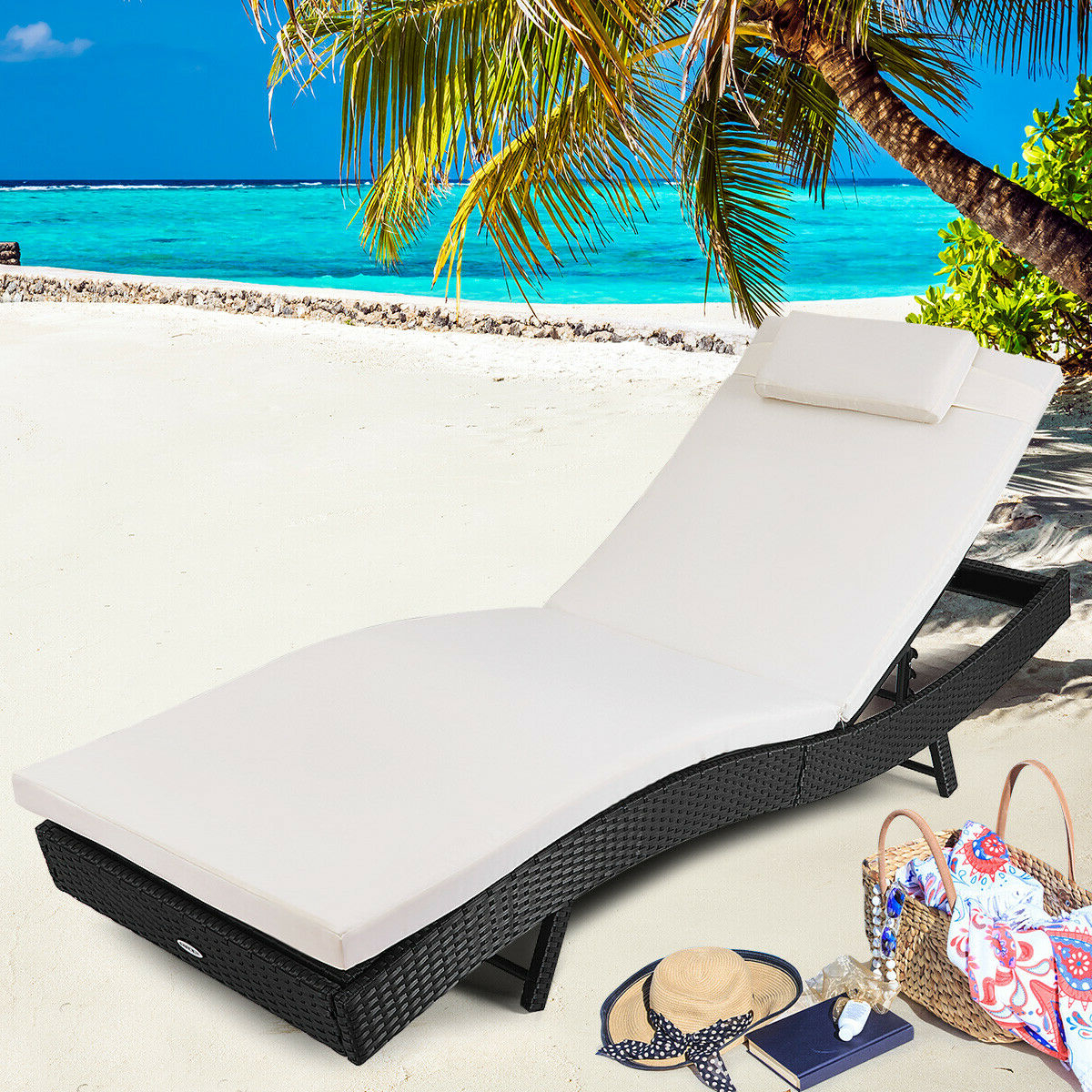 Well Liked Costway Adjustable Pool Chaise Lounge Chair Outdoor Patio Furniture Pe  Wicker W/cushion Throughout Outdoor Cart Wheel Adjustable Chaise Lounge Chairs (View 24 of 25)