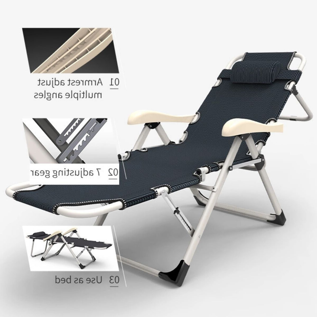 Well Liked Equal – Portable & Adjustable Folding Steel Recliner Chair For Portable Extendable Folding Reclining Chairs (View 9 of 25)