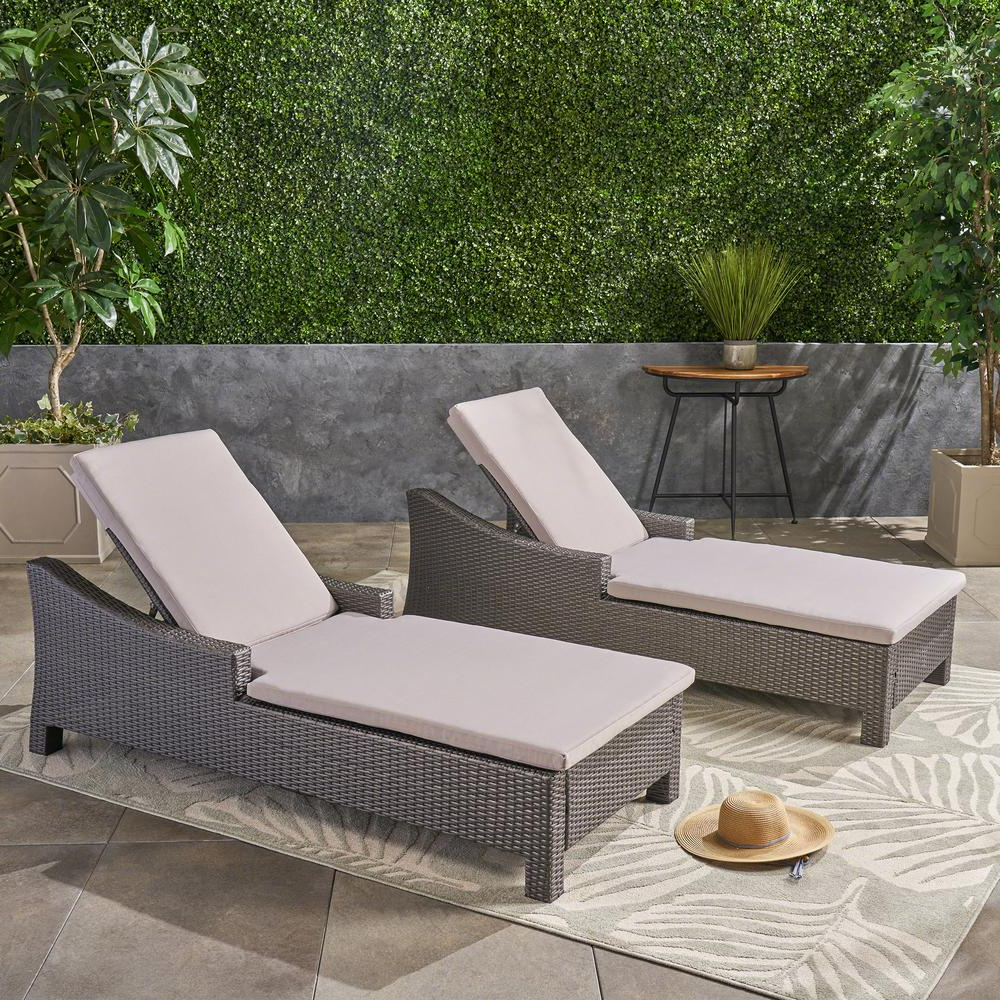 Well Liked Navan Outdoor Aluminum Chaise Lounges With Cushion In Noble House Antibes Grey Wicker Outdoor Chaise Lounge With Silver Cushion (set Of 2) (View 12 of 25)