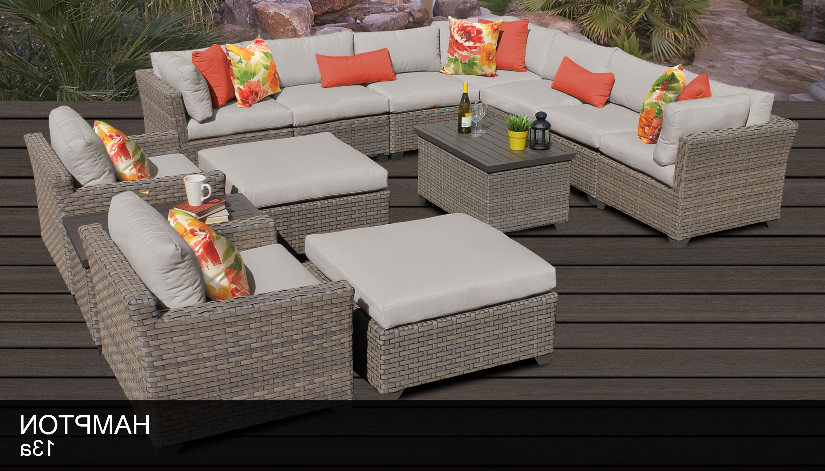 Well Liked Outdoor 13 Piece Wicker Patio Sets With Cushions In Hampton 13 Piece Outdoor Wicker Patio Furniture Set 13A (Gallery 3 of 25)