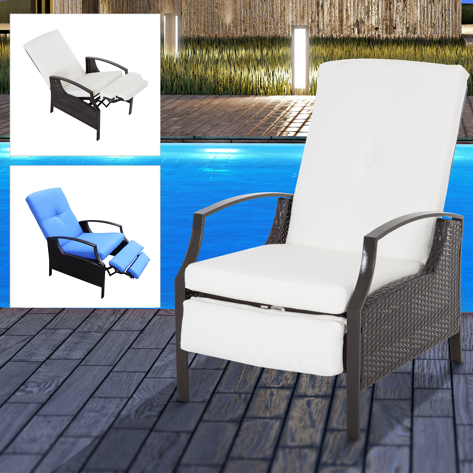 Well Liked Outdoor Adjustable Rattan Wicker Recliner Chairs With Cushion Within Details About Adjustable Wicker Recliner Cushion Chair Pool Chaise Patio Lounge Outdoor (View 9 of 25)