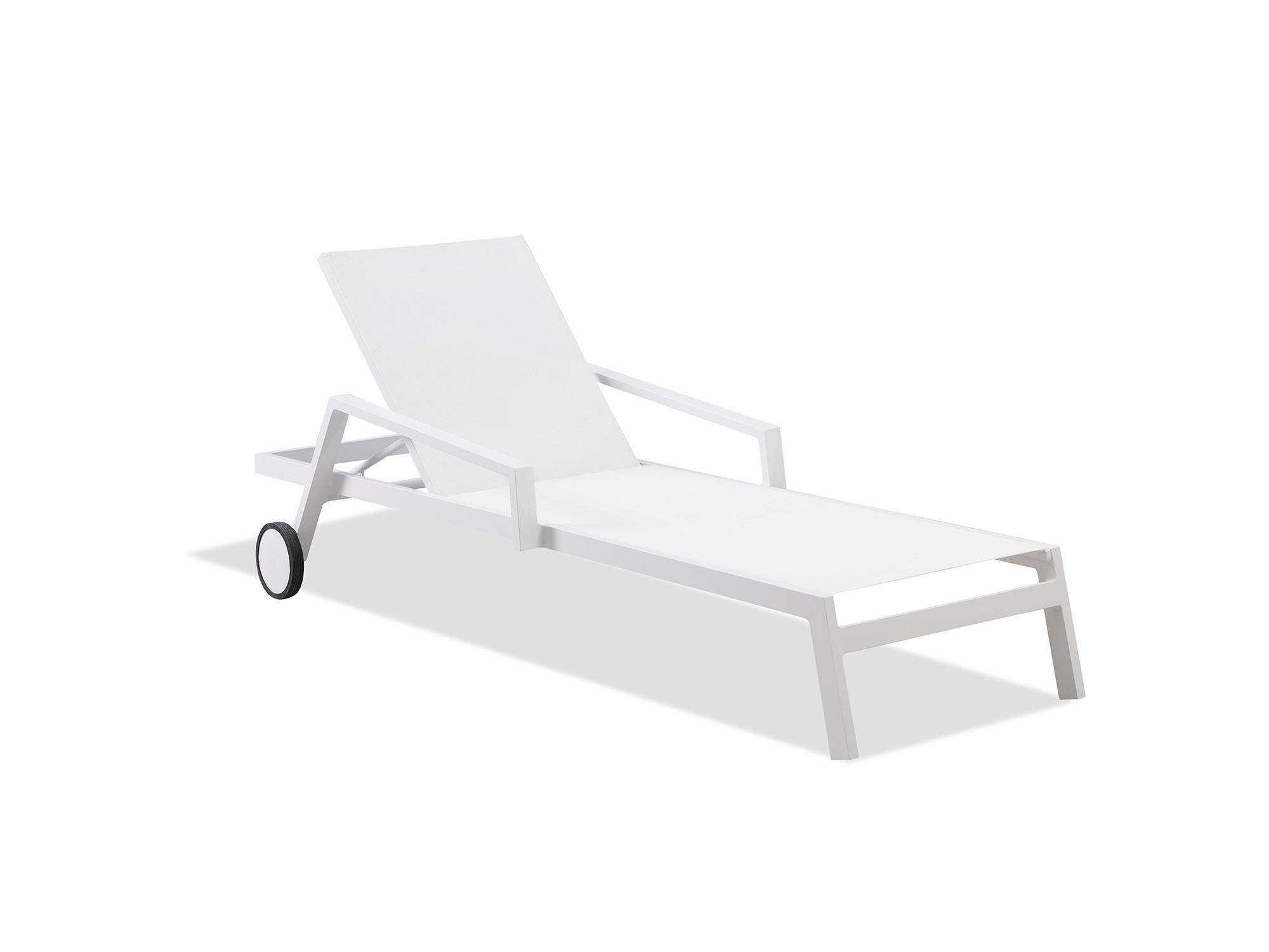 Well Liked Outdoor Chaise Lounge W/wheels Set 2pcs White Bondi For Plastic Chaise Lounges W/ Wheels (View 16 of 25)