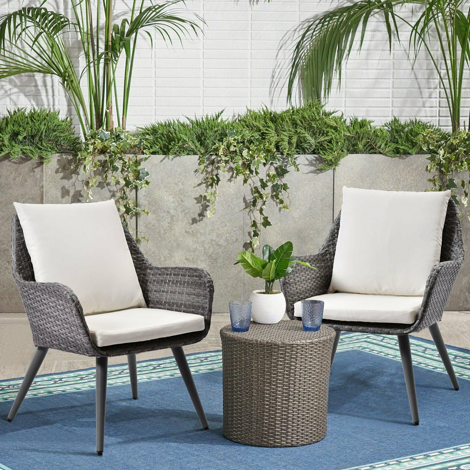 Well Liked Outdoor Wicker Dining Chair Pe Rattan Accent Chair With Cushion Patio  Furniture Intended For Outdoor Rustic Acacia Wood Chaise Lounges With Wicker Seat (Gallery 25 of 25)