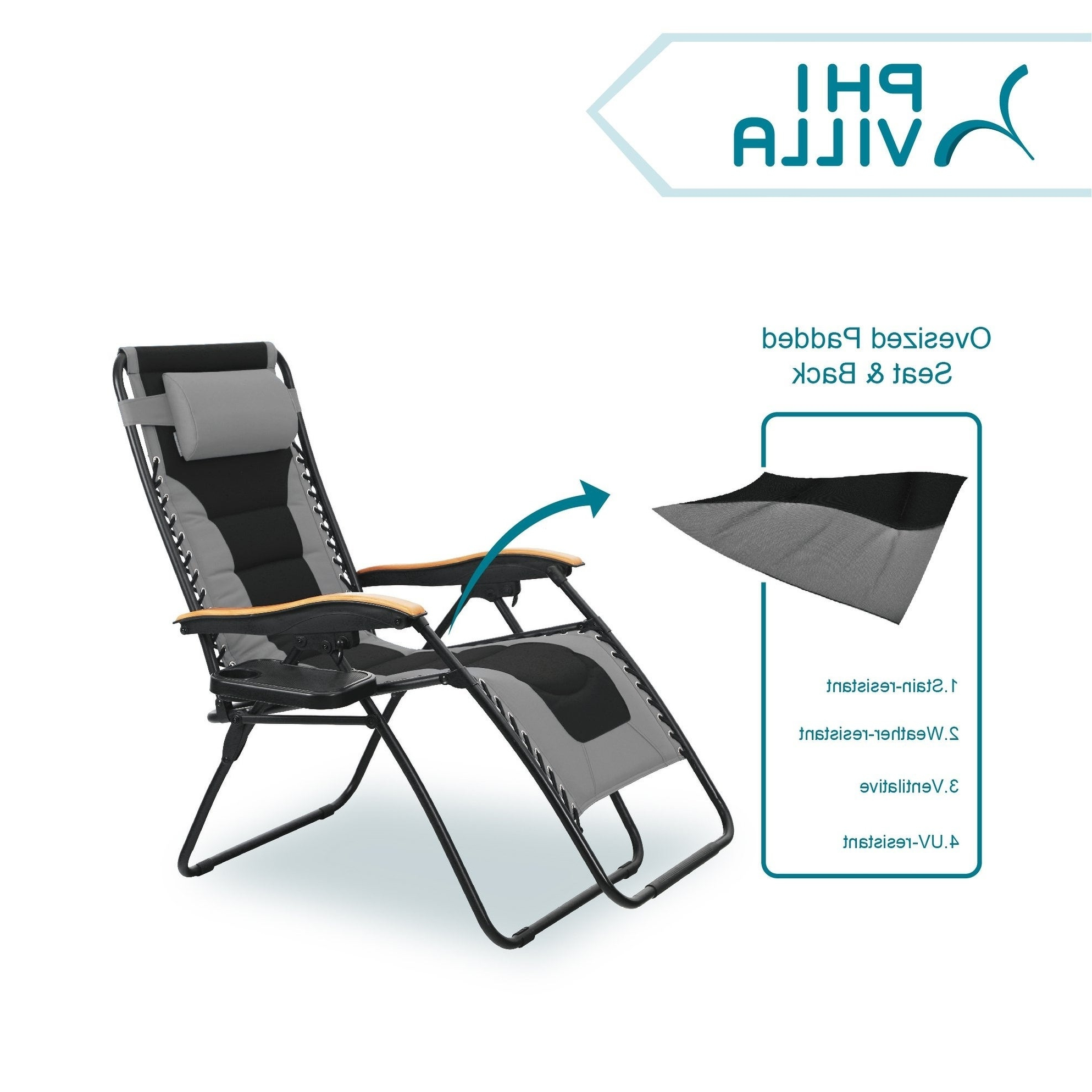 Well Liked Oversize Wider Armrest Padded Lounge Chairs In Phi Villa Oversize Xl Padded Zero Gravity Lounge Chair Wider Armrest  Adjustable Recliner With Cup Holder, Support 350 Lbs – N/a (View 1 of 25)