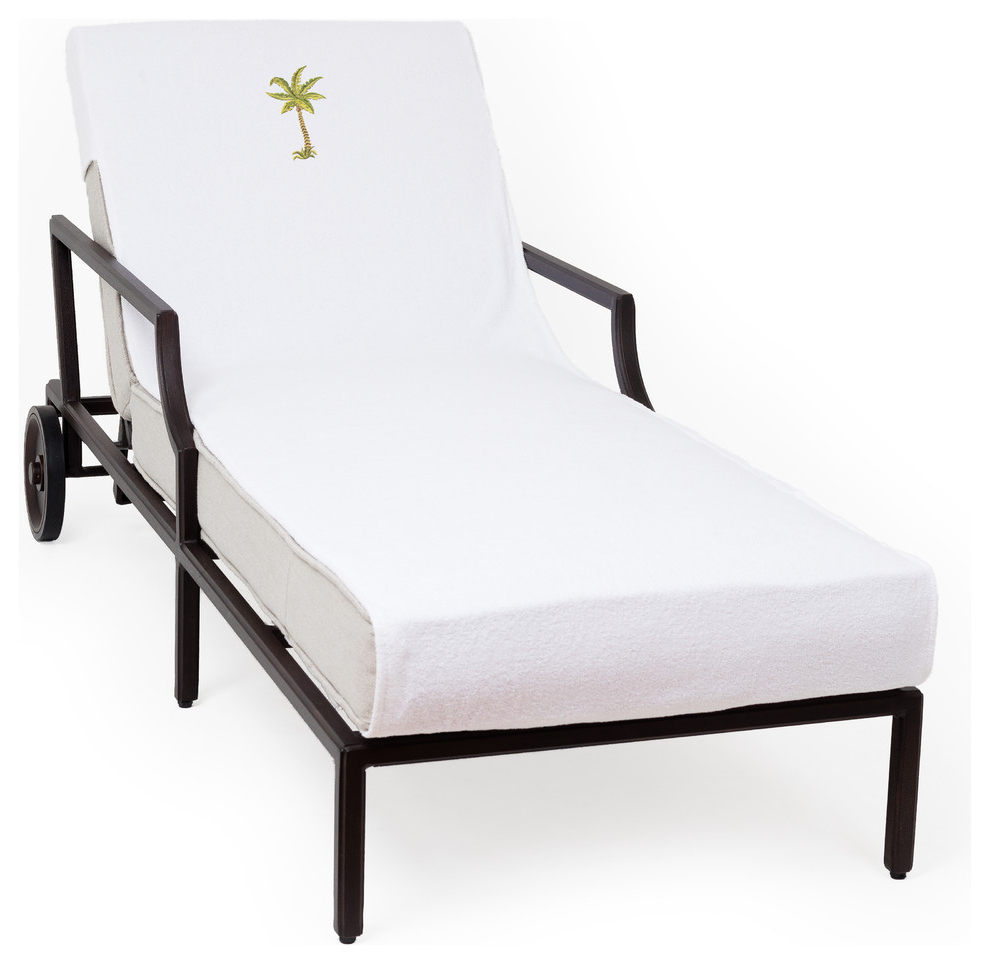 Well Liked Palm Tree Embroidered Standard Size Chaise Lounge Cover, White With Regard To Standard Size Chaise Lounge Chairs (View 5 of 25)