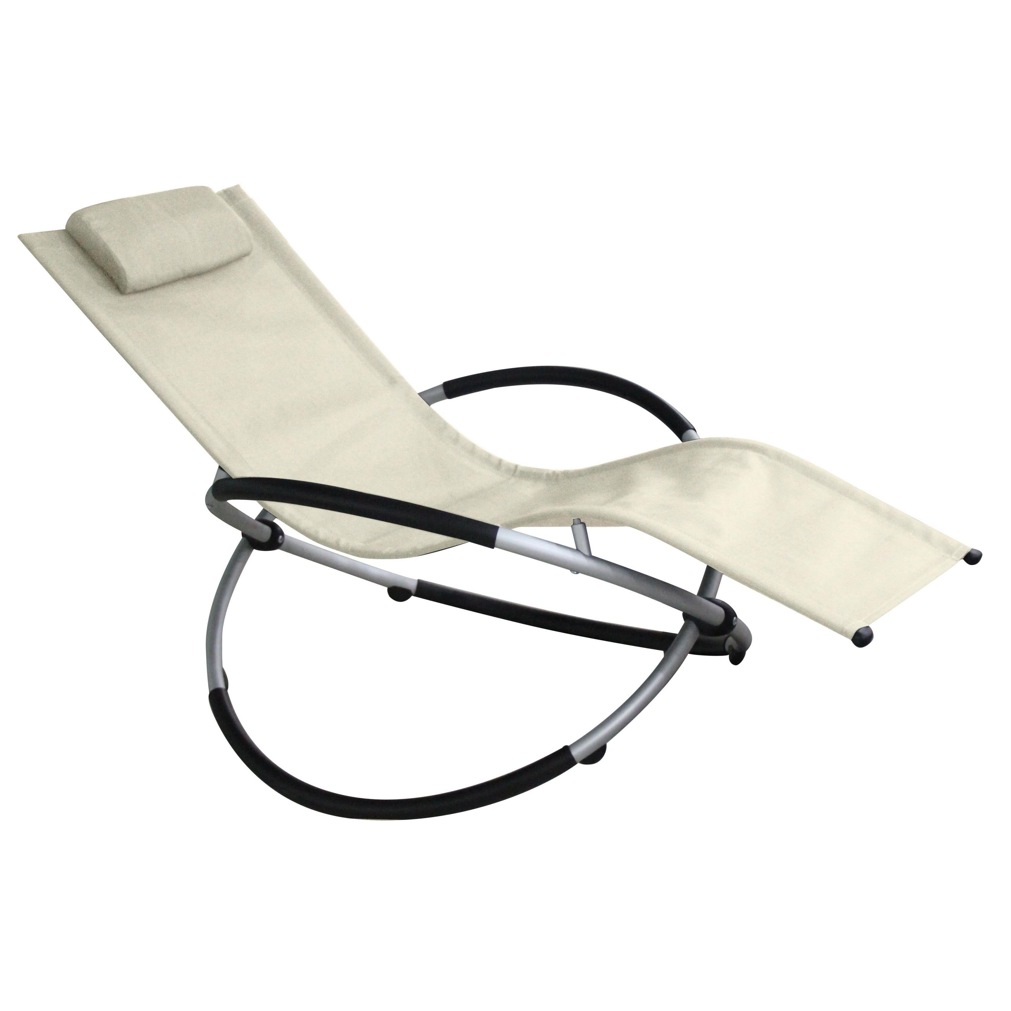 Well Liked Red Vanilla Beige Textilene And Aluminum Outdoor Rocking Lounge Chair Within Orbital Patio Lounger Rocking Chairs (View 12 of 25)