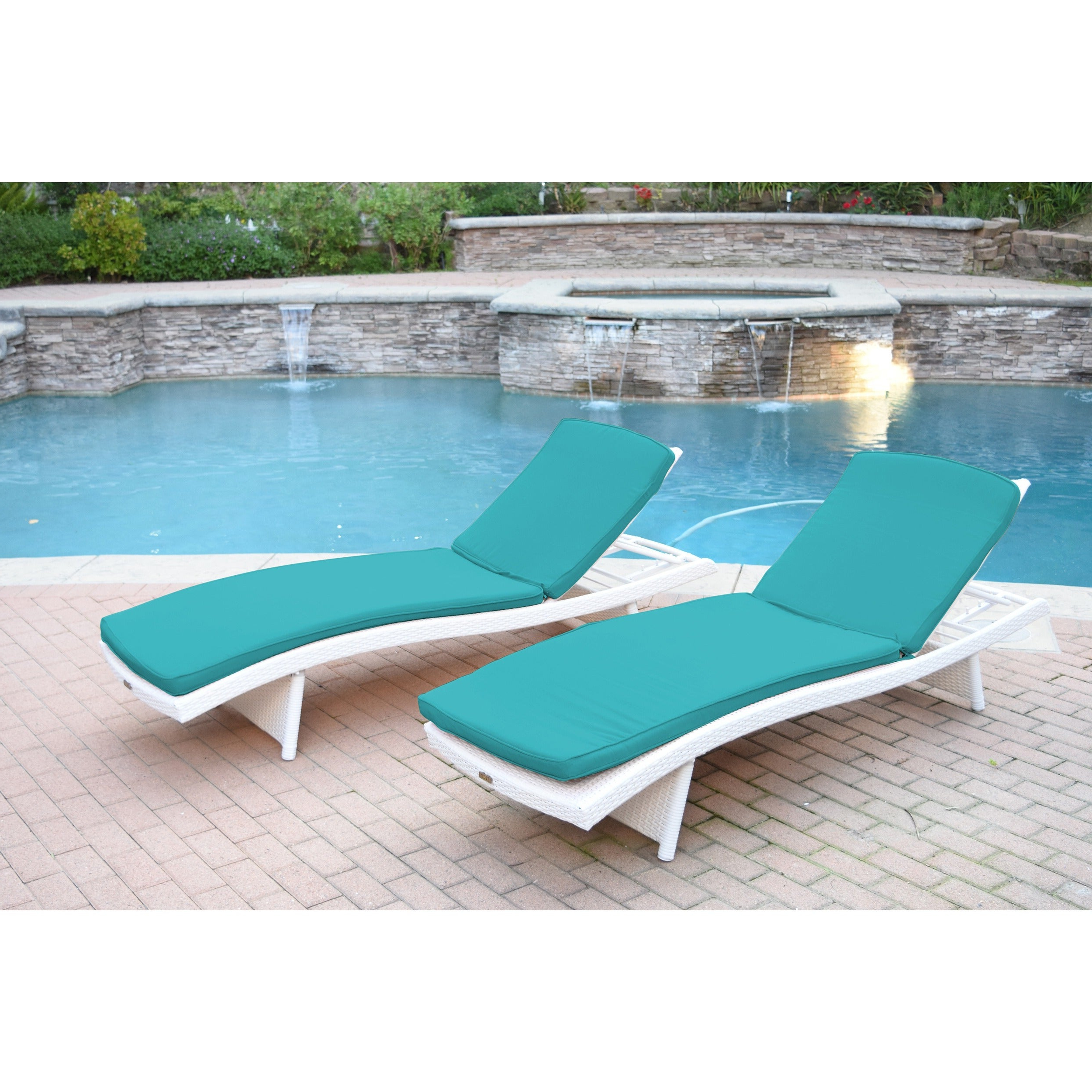 White Wicker Adjustable Chaise Lounger With Cushions (Set Of 2) With Recent Havenside Home Newtok Mesh Reclining Patio Loungers (Gallery 7 of 25)