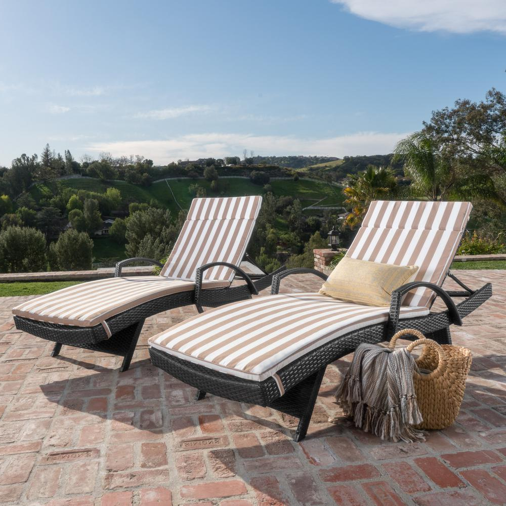 White Wicker Adjustable Chaise Loungers With Cushions Pertaining To 2020 Noble House Miller Grey 2 Piece Wicker Outdoor Chaise Lounge Set With  Brown/ White Stripe Cushions And Armrest (View 20 of 25)