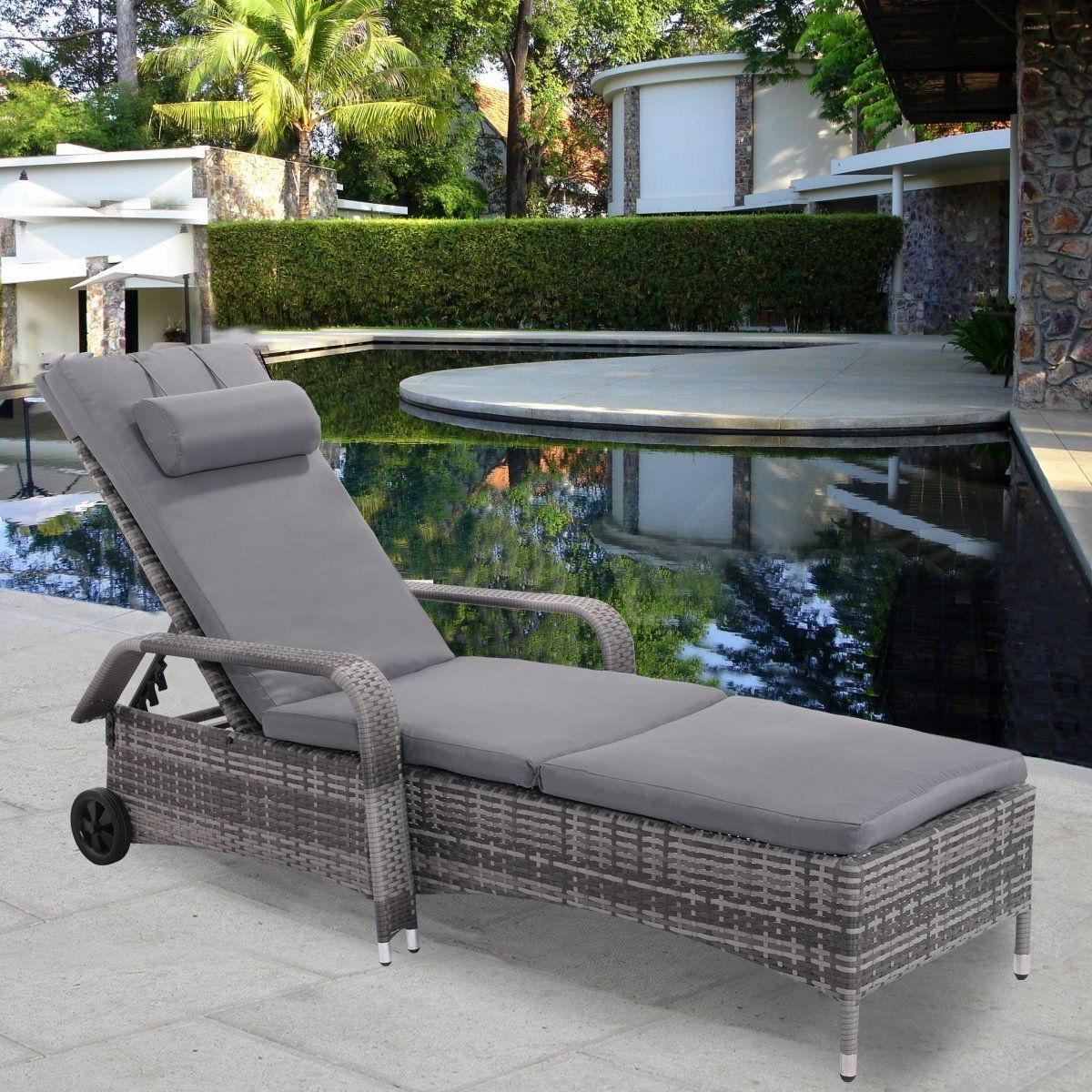 Wicker Chaise Back Adjustable Patio Lounge Chairs With Wheels Regarding Well Liked Tangkula Patio Chaise Lounge Chair With Armrest Headrest And (View 17 of 25)