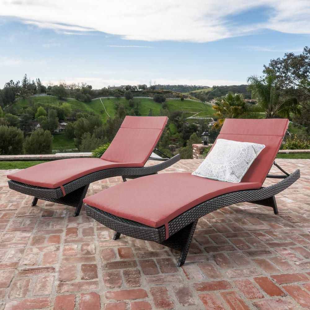 Widely Used 2 Piece Outdoor Wicker Chaise Lounge Chairs Regarding Noble House Miller Grey Armless 2 Piece Wicker Outdoor (View 7 of 25)