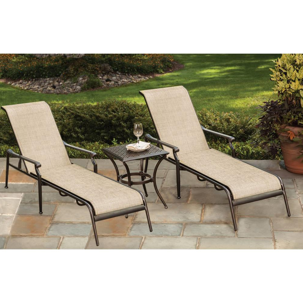 Widely Used 3 Piece Sling Outdoor Chaise Lounge Pertaining To Nautical 3 Piece Outdoor Chaise Lounge Sets With Wheels And Table (View 16 of 25)