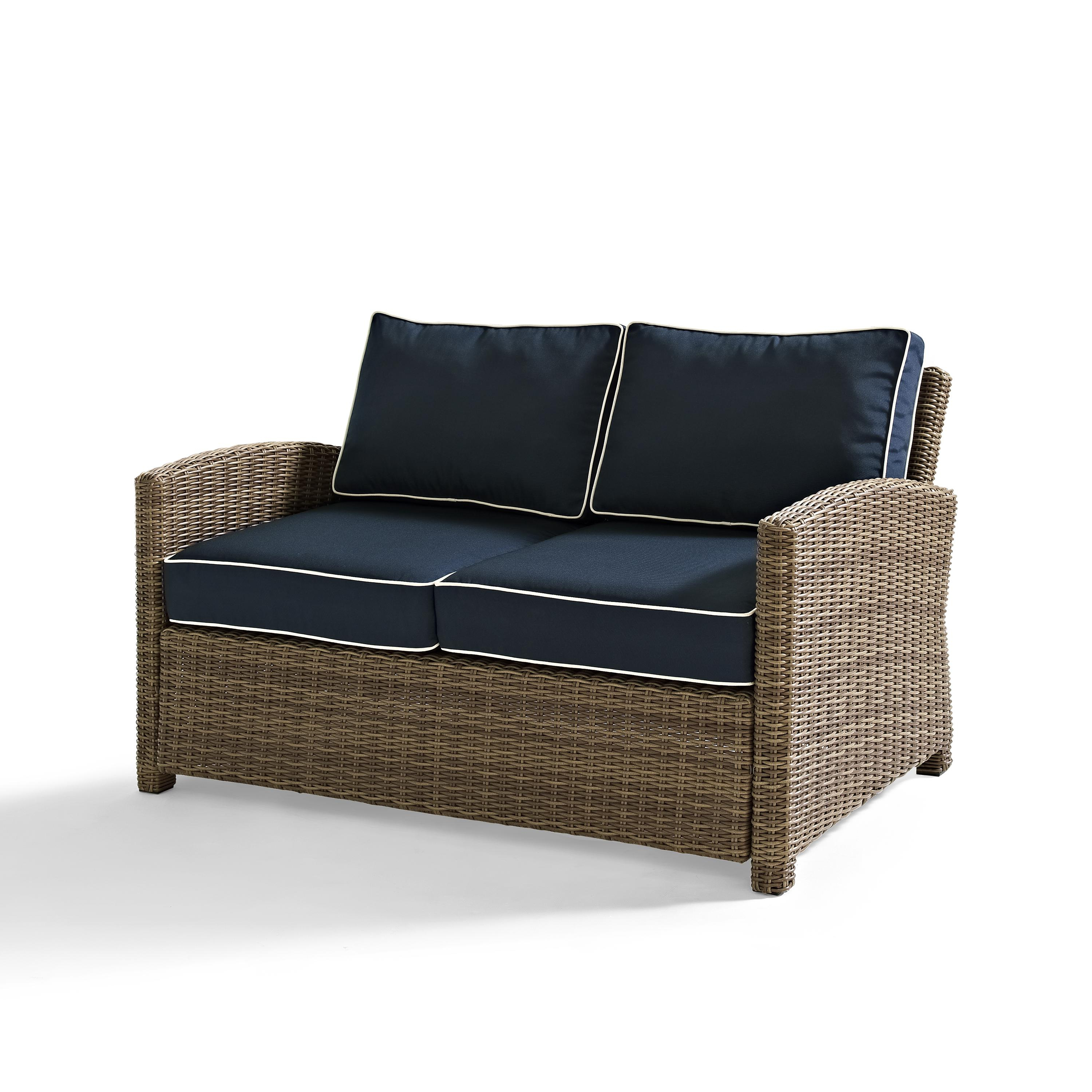 Widely Used Bradenton Outdoor Wicker Chaise Lounges With Cushions With Crosley Bradenton Outdoor Wicker Loveseat With Sangria Cushions – Navy (View 22 of 25)