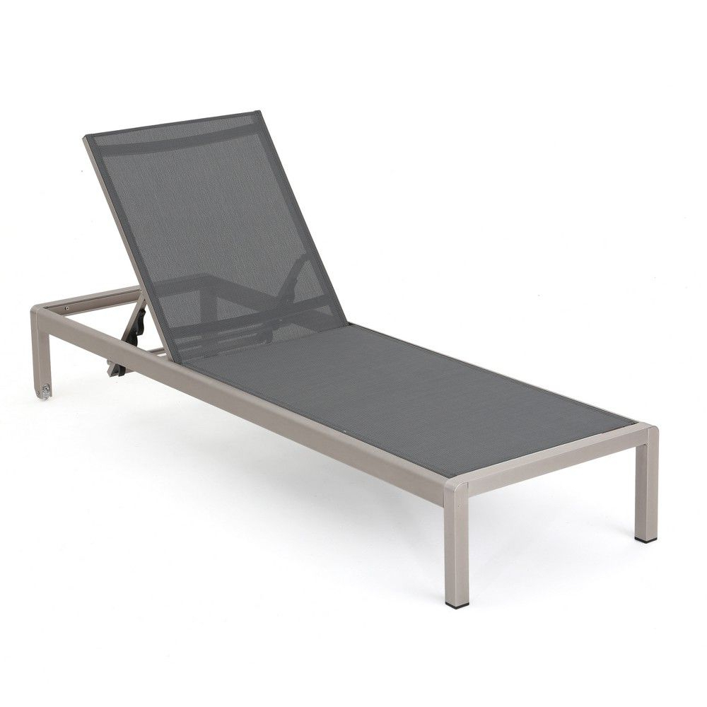 Widely Used Cape Coral Aluminum & Mesh Chaise Lounge – Silver/dark Gray Pertaining To Salton Outdoor Aluminum Chaise Lounges (Gallery 14 of 25)