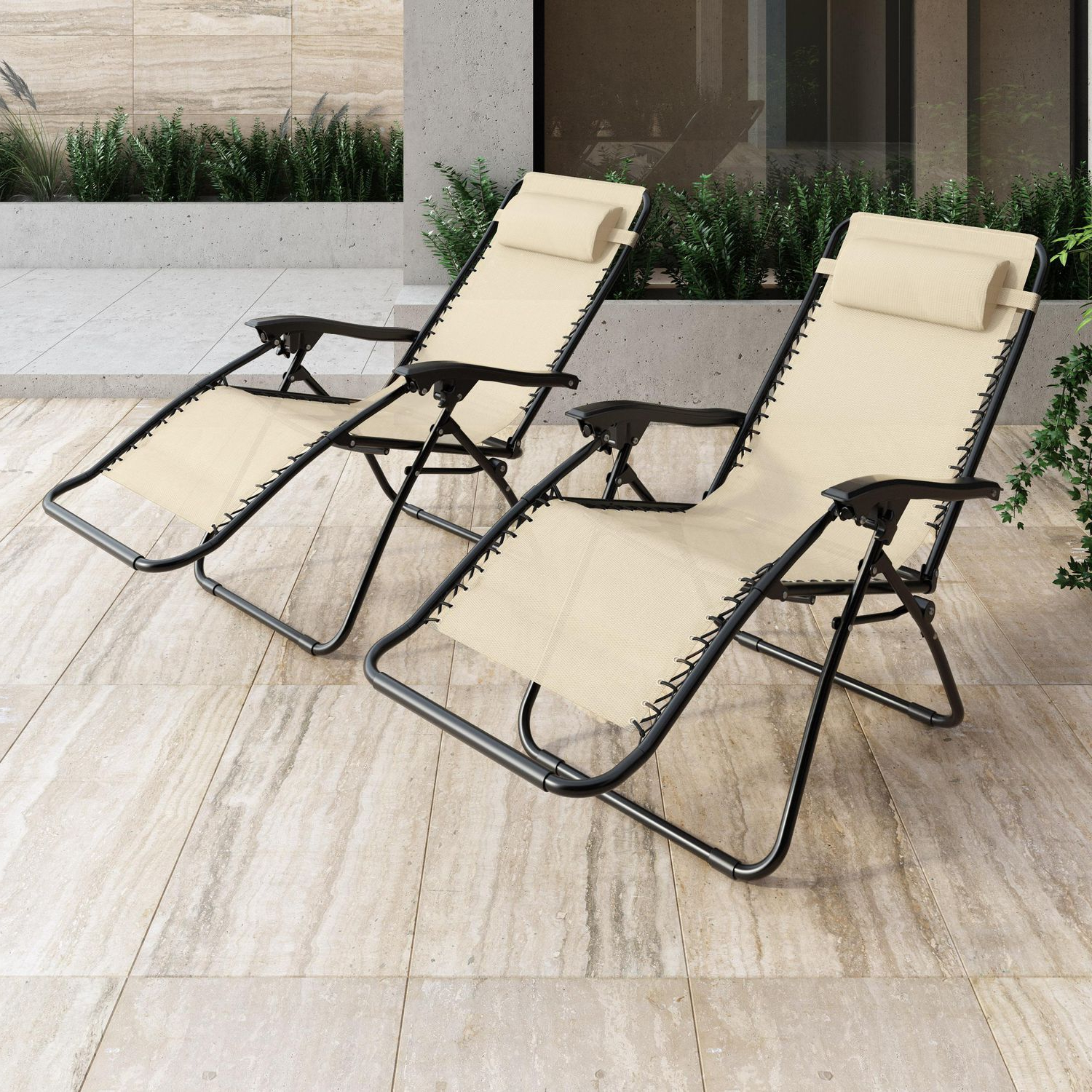 Widely Used Corliving Riverside Textured Loungers Inside Corliving Riverside Textured Mesh Zero Gravity Patio Lounger, Set Of 2 (Gallery 8 of 25)
