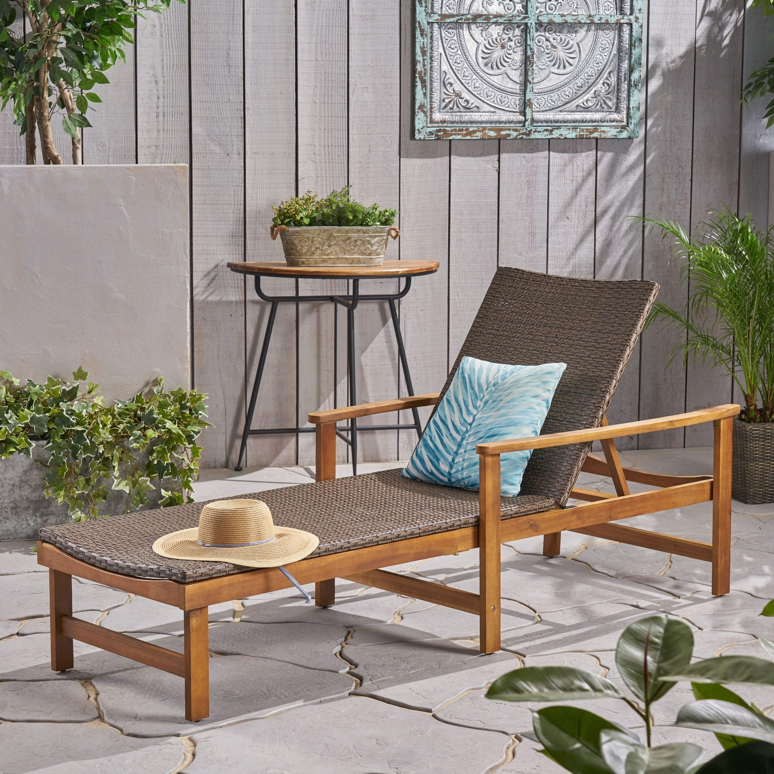 Featured Photo of Outdoor Rustic Acacia Wood Chaise Lounges With Wicker Seat