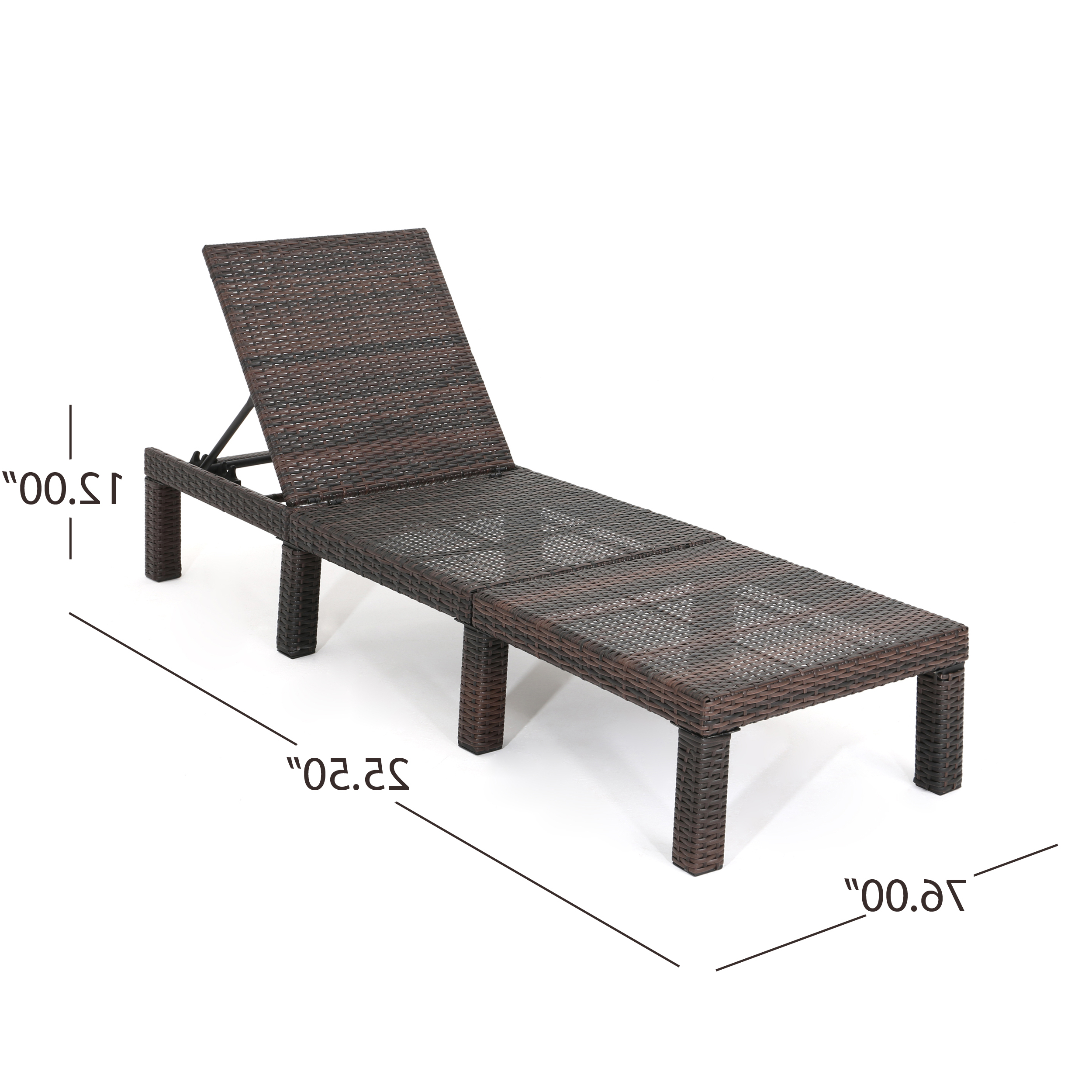 Widely Used Details About Joyce Outdoor Wicker Chaise Lounge With Water Resistant Cushion In White Wicker Adjustable Chaise Loungers With Cushions (View 12 of 25)