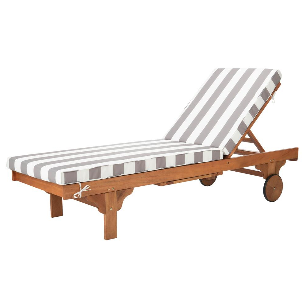 Widely Used Eucalyptus Teak Finish Outdoor Chaise Loungers With Cushion Within Safavieh Newport Natural Brown Adjustable Wood Outdoor Lounge Chair With Grey And White Cushion (View 4 of 25)