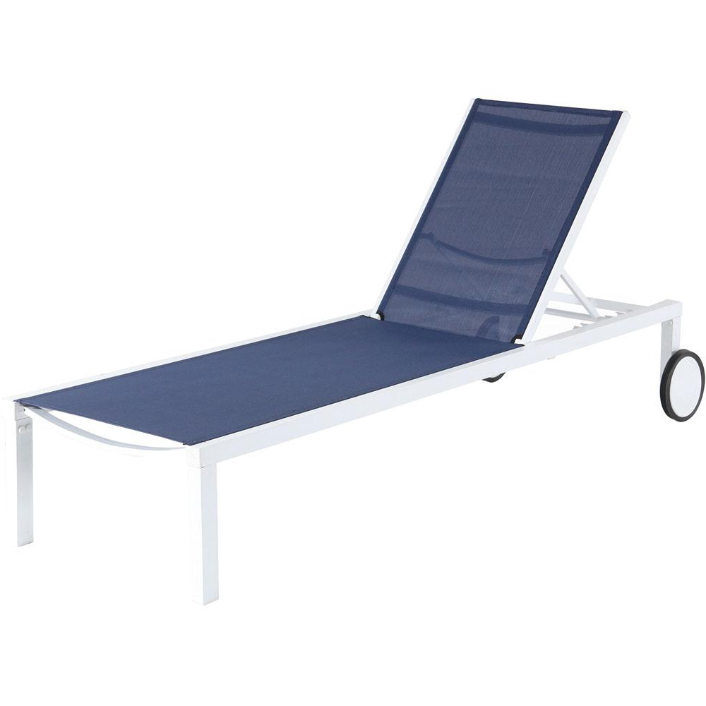 Widely Used Hanover Windham White Frame Adjustable Sling Outdoor Chaise Lounge In Navy Blue Sling Regarding Hanover Halsted Padded Chaises (View 14 of 25)