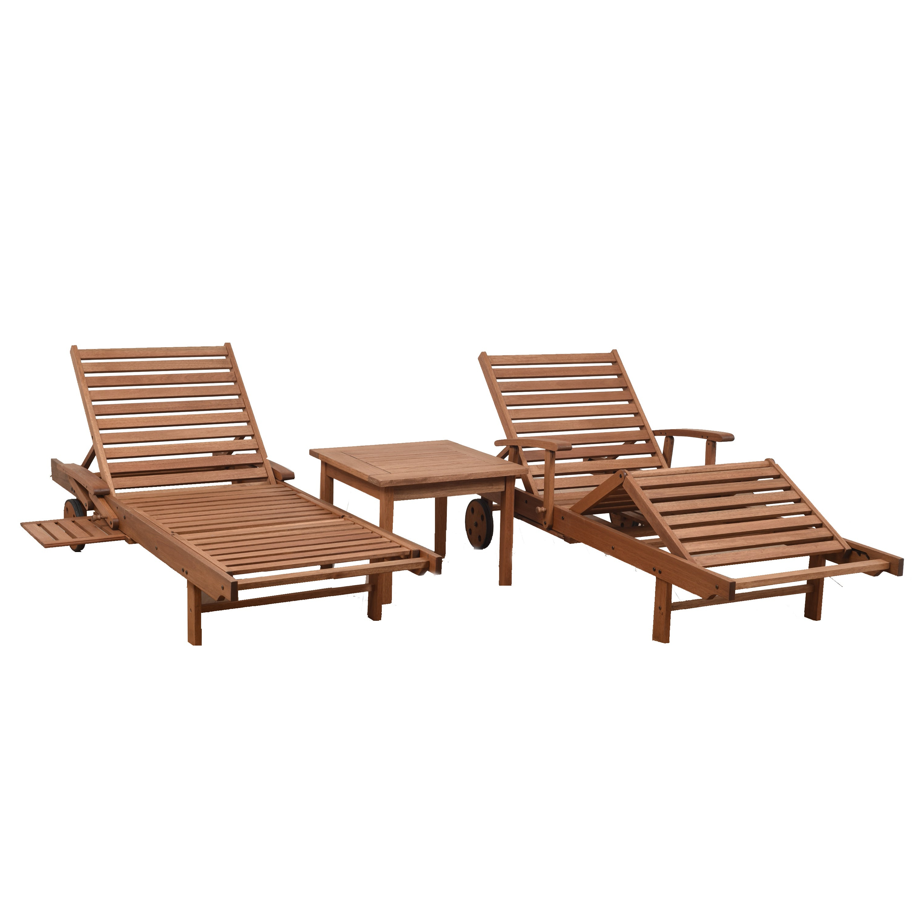 Widely Used Havenside Home Tottenville Eucalyptus Loungers Inside Havenside Home Tottenville Natural Eucalyptus 3 Piece Patio Lounger Set (View 6 of 25)