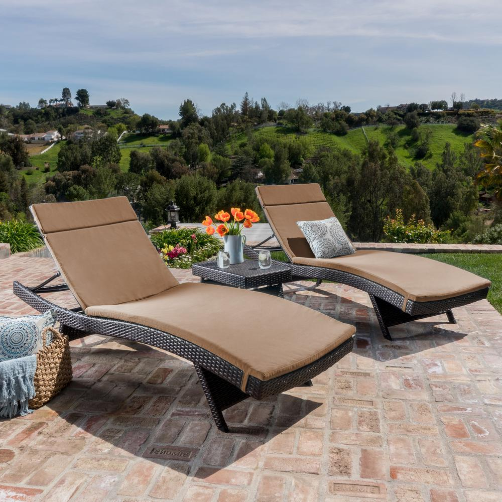 Widely Used Jamaica Outdoor Wicker Chaise Lounges With Cushion Pertaining To Salem Multi Brown 5 Piece Wicker Outdoor Chaise Lounge With Caramel Cushions (Gallery 11 of 25)