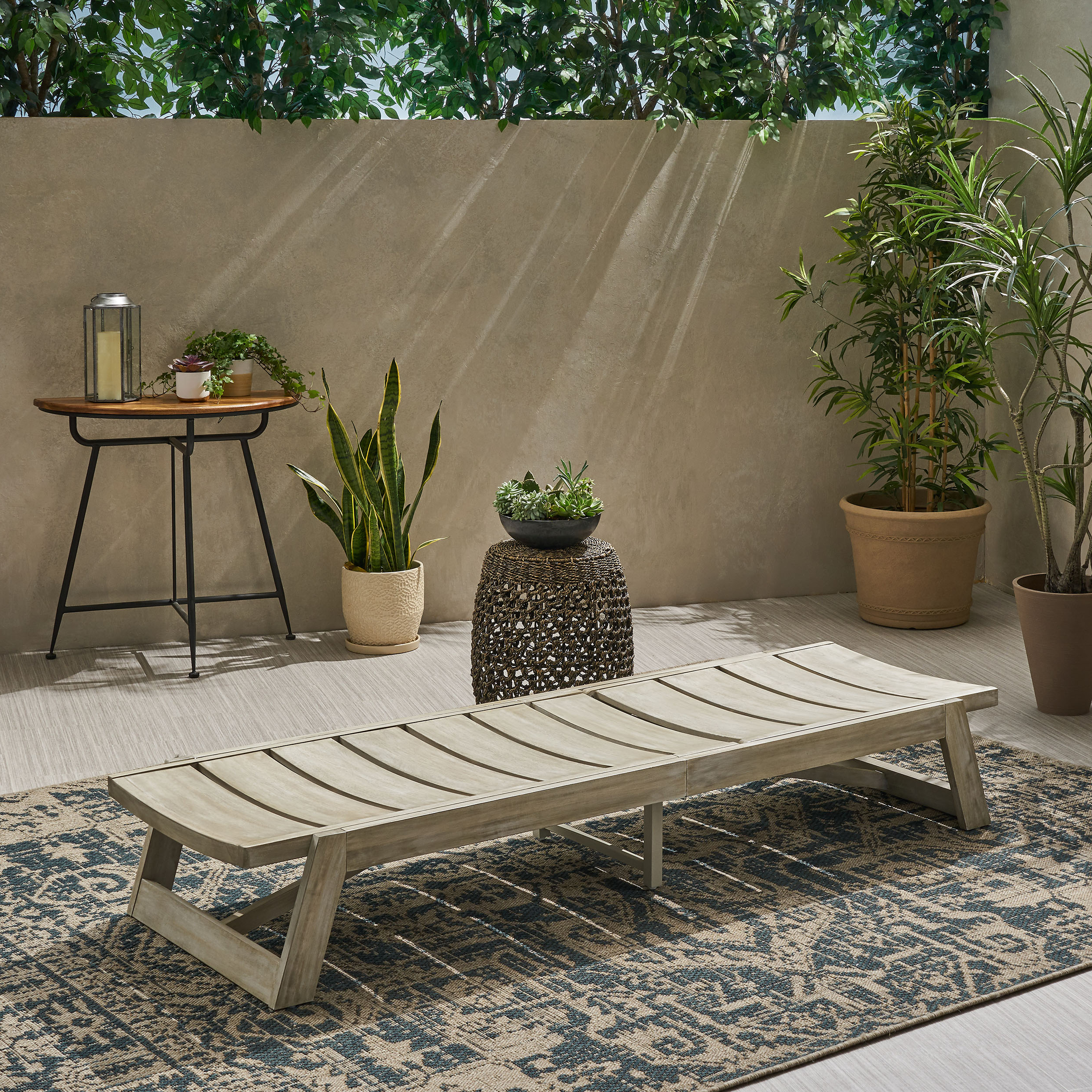 Widely Used Maki Outdoor Wood Chaise Lounges Inside Maki Outdoor Wood And Iron Chaise Lounge (View 9 of 25)