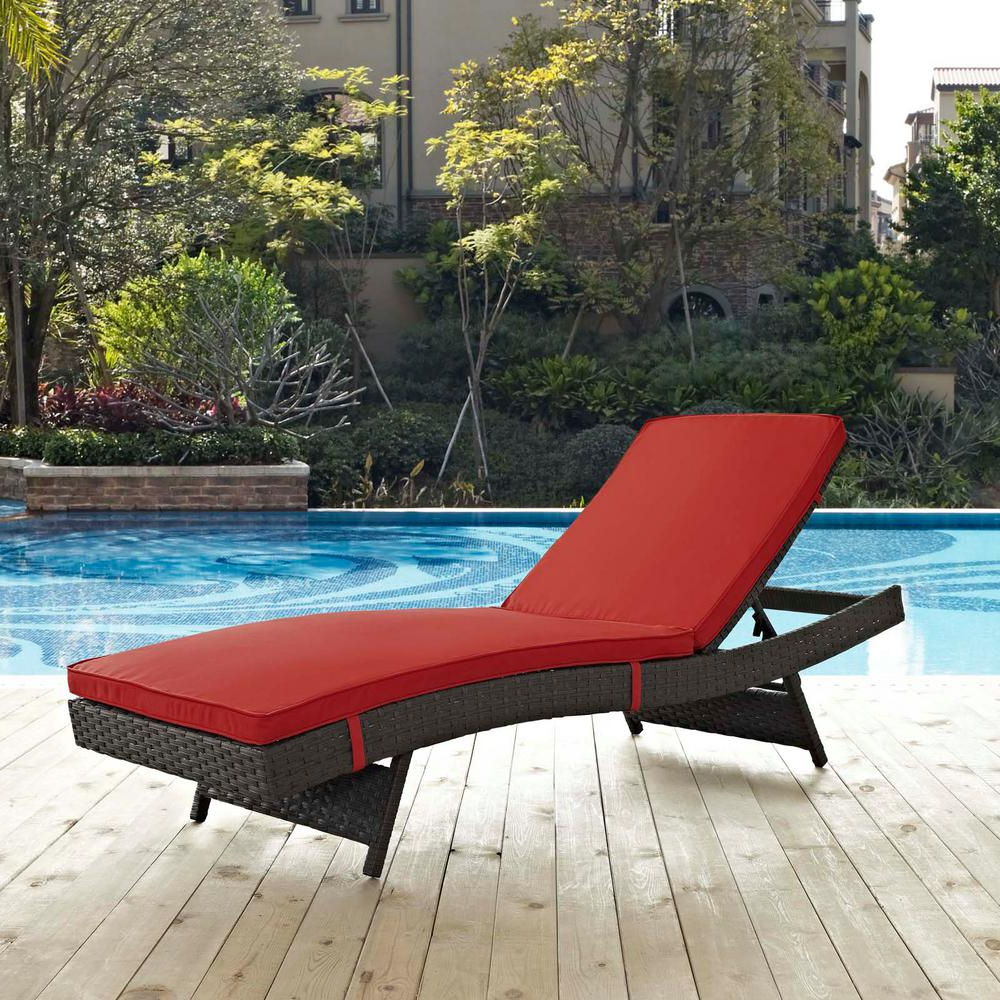 Widely Used Modway Sojourn Wicker Outdoor Patio Chaise Lounge With Sunbrella Canvas Red Cushions Within Bradenton Outdoor Wicker Chaise Lounges With Cushions (View 15 of 25)