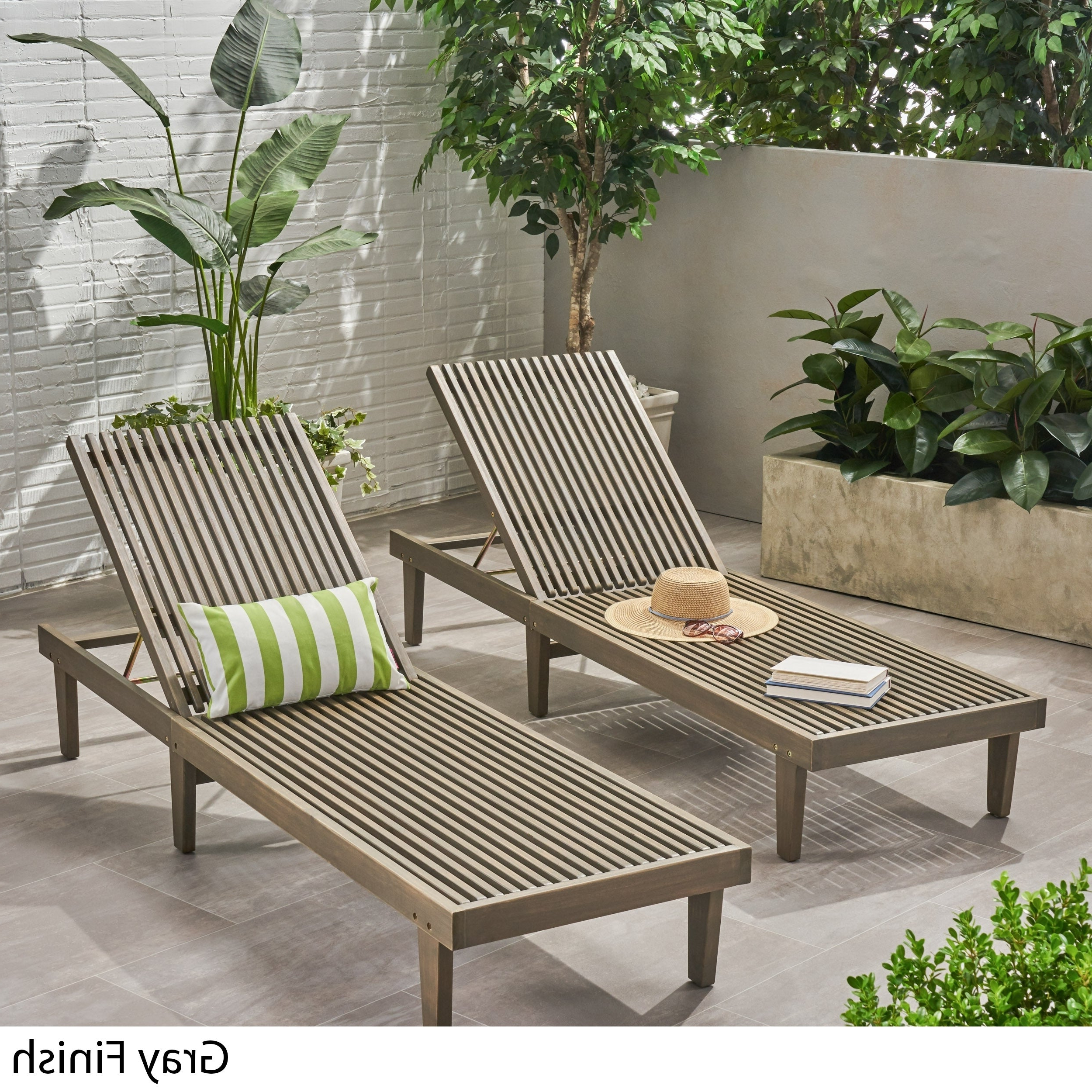 Widely Used Nadine Outdoor Adjustable Wood Chaise Lounge (Set Of 2)Christopher  Knight Home Within Havenside Home Ormond Outdoor Hardwood Sun Loungers With Tray (Gallery 22 of 25)