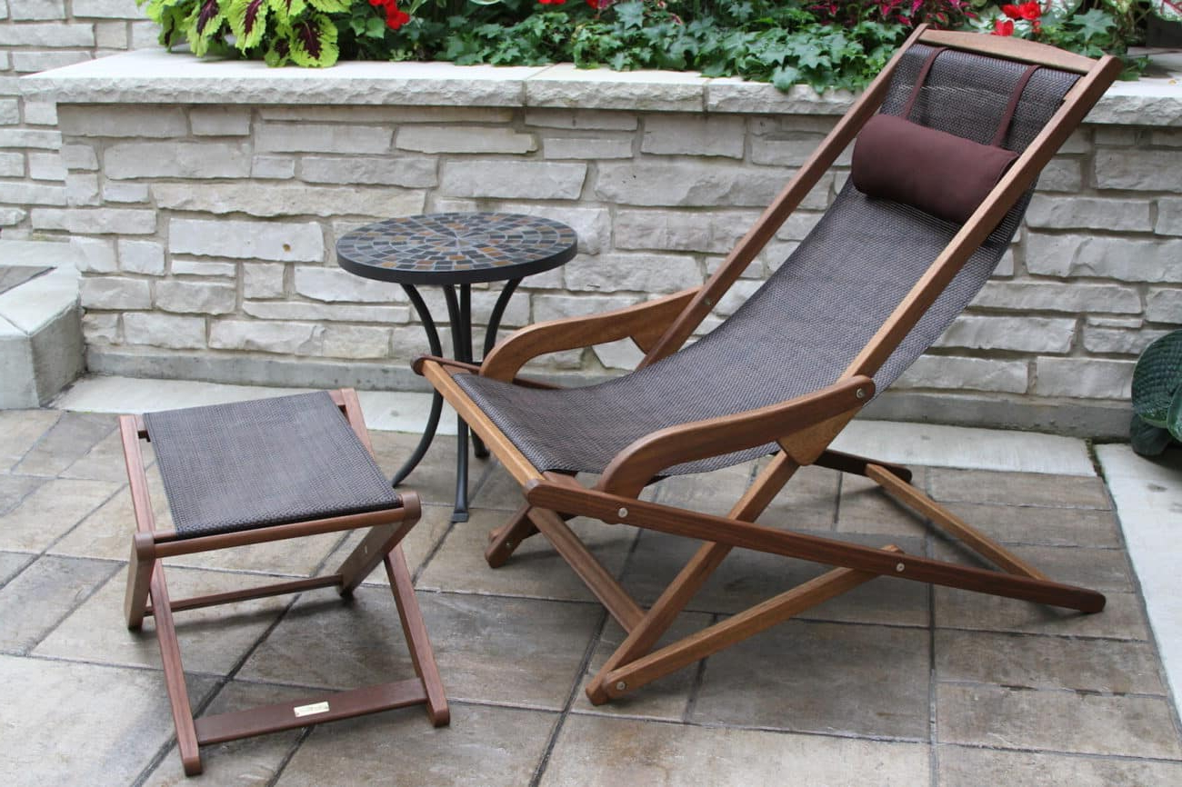 Widely Used Outdoor Sling Eucalyptus Chaise Loungers Within Eucalyptus Hardwood & Brown All Weather Sling Ottoman (View 25 of 25)