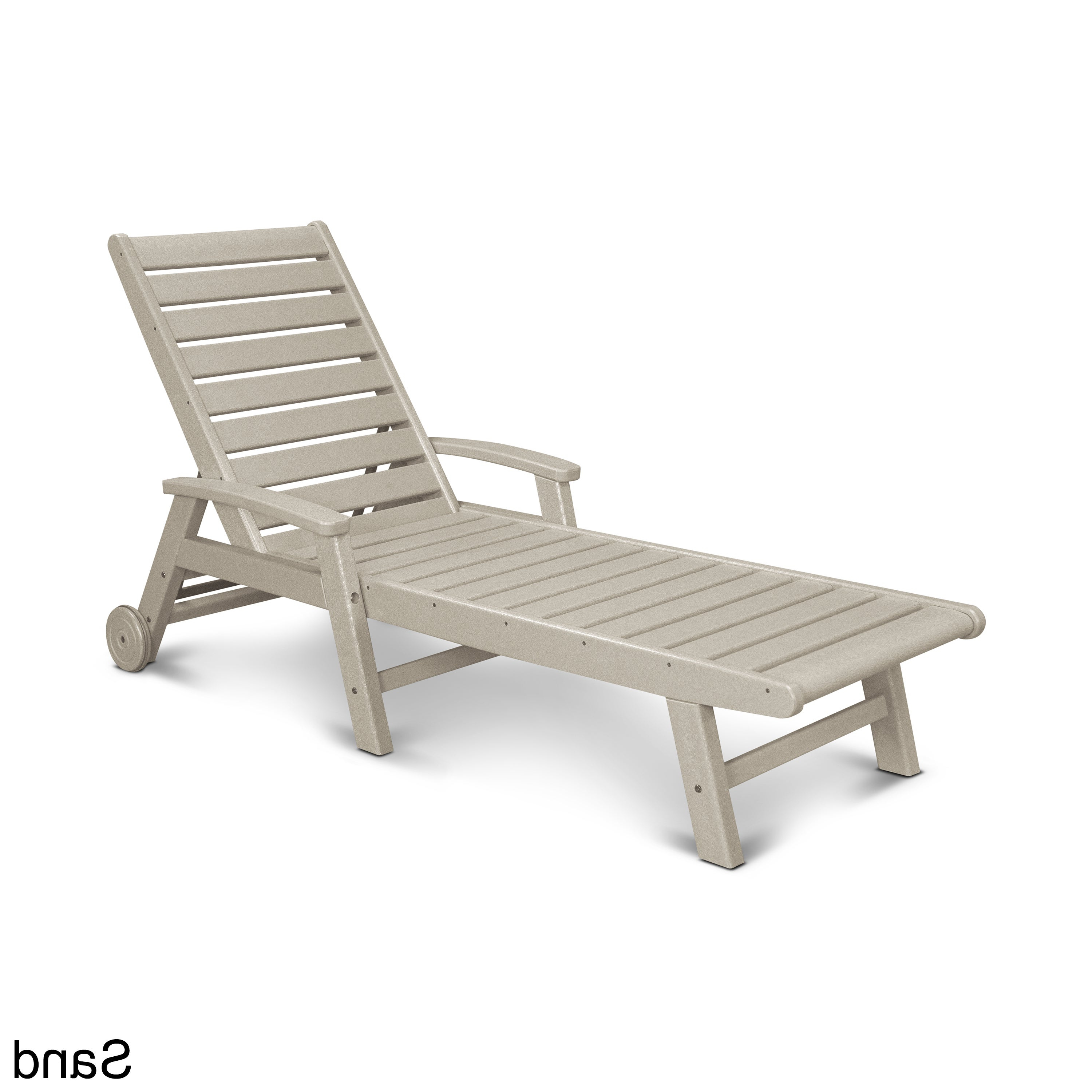 Widely Used Polywood® Signature Outdoor Chaise Lounge With Wheels, Sw2280 Regarding Nautical 3 Piece Outdoor Chaise Lounge Sets With Wheels And Table (View 15 of 25)