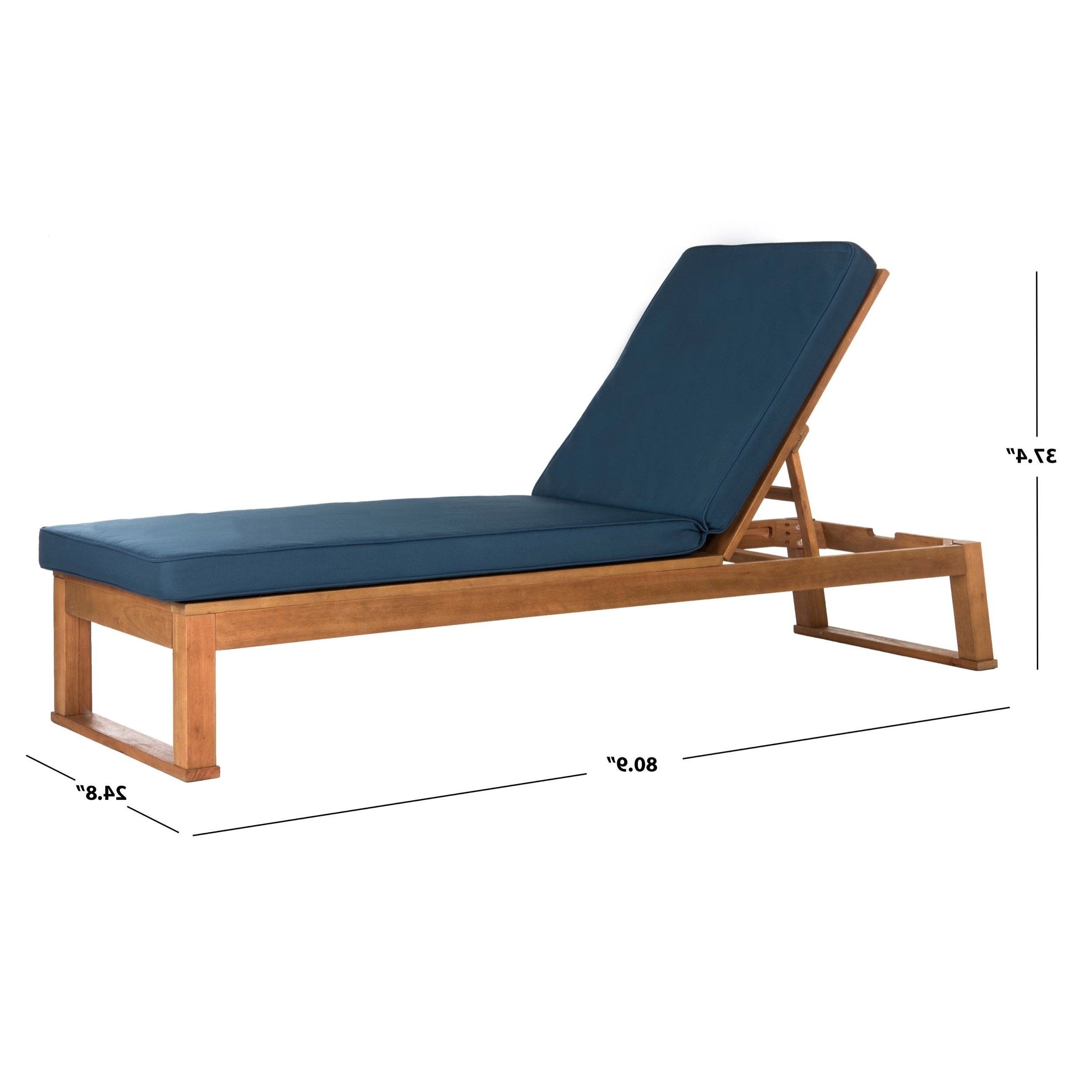 "Widely Used Safavieh Outdoor Living Solano Brown/ Navy Sunlounger – 24.8"" X 80.9"" X (View 5 of 25)"