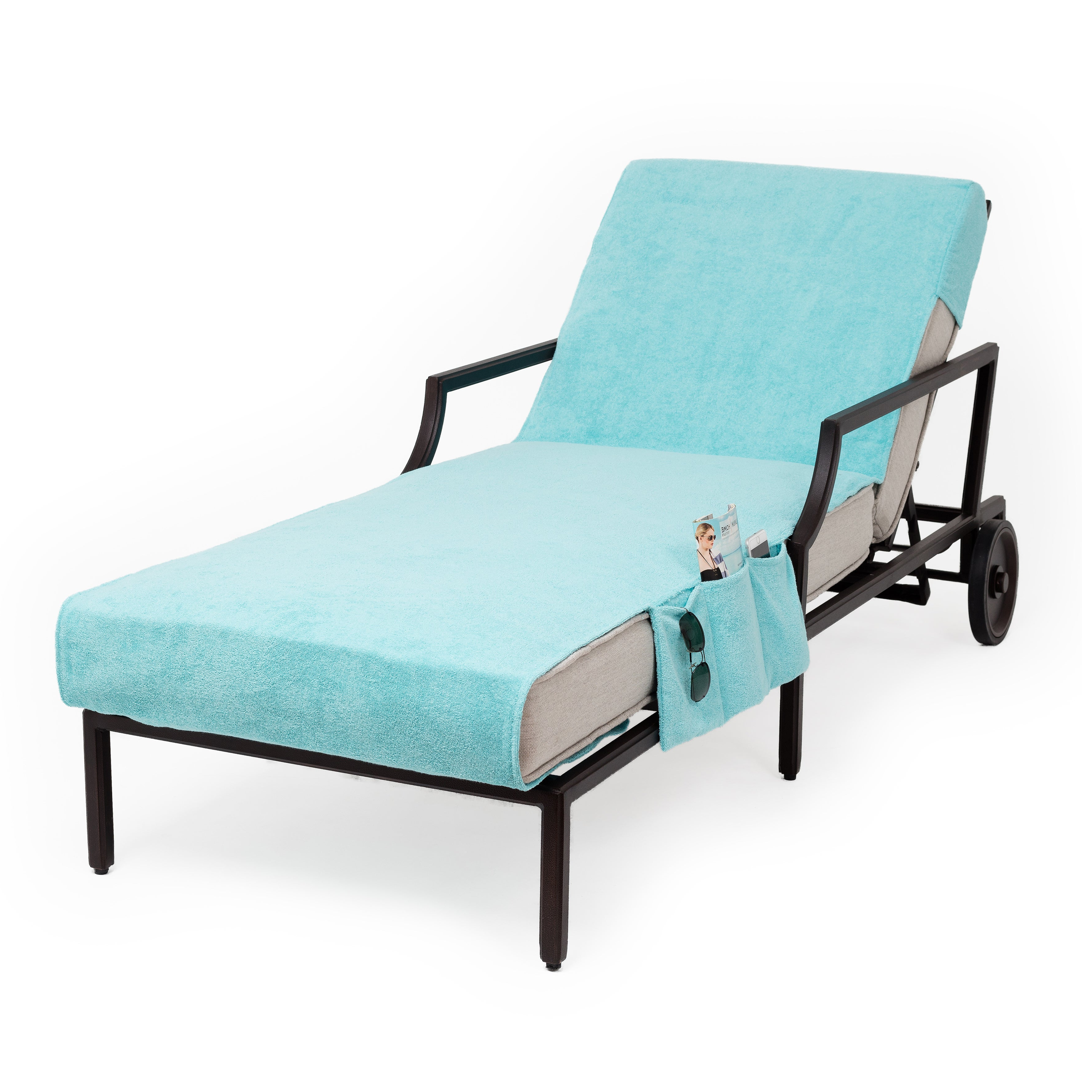 Widely Used Standard Size Chaise Lounge Chairs Inside Authentic Turkish Cotton Aqua Green Towel Cover For Standard Size Chaise  Lounge Chair With Side Pocket (View 2 of 25)