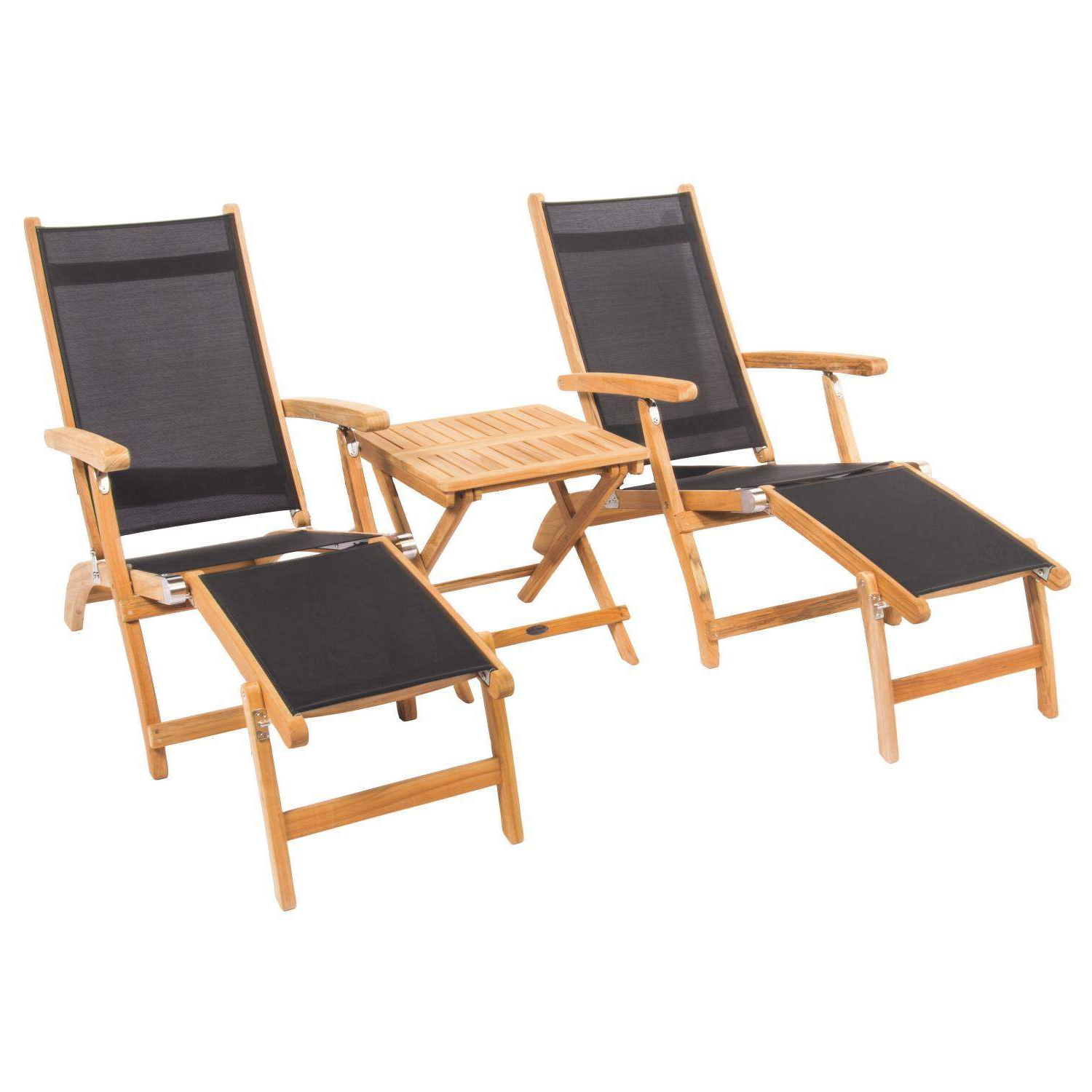 Widely Used Steamer 3 Piece Teak Patio Chaise Lounge Set W/ Side Table With Nautical 3 Piece Outdoor Chaise Lounge Sets With Table (Gallery 23 of 25)