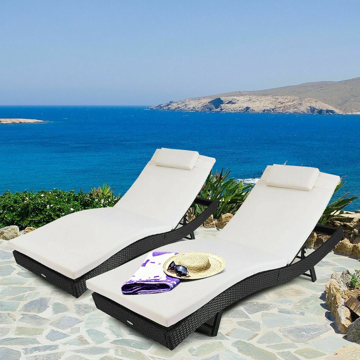 Widely Used Wood Blue And White Cushion Outdoor Chaise Lounge Chairs With Regard To Citycw Adjustable Pool Chaise Lounge Chair Outdoor Patio Furniture Pe  Wicker W/cushion (View 20 of 25)